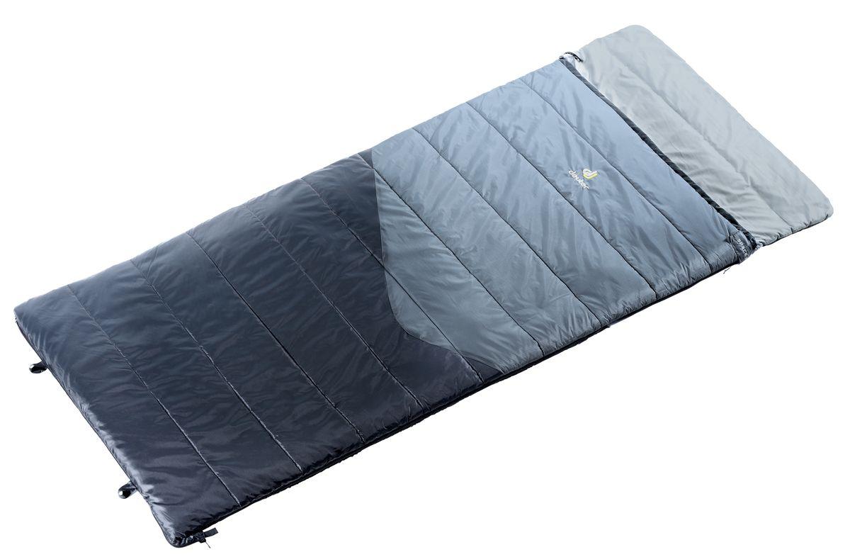 Спальный мешок Deuter Space II, цвет: серый, черный, правая молния37011_4100Семейство Space - идеальные попутчики в походных условиях. Space II идеально согреет вас ночью для комфортабельного отдыха на природе. При расстегивании молнии спальник превращается в плоское одеяло. Подушку можно закрепить с помощью липучки Velcro. Отличный утеплитель и мягкая подкладка обеспечивают комфорт.Упаковочный чехол для этой модели выполнен в виде сумки, которую можно использовать отдельно, когда она не занята спальным мешком. Особенности: внутренний карман с застежкой Velcro; компрессионный упаковочный чехол; лента против заедания молнии; 2-сторонняя молния.Вес: 1770 г. Размер: 195 x 35 x 80 см. Рост: 200. Упакованный размер: 23 x 50 см. Наполнитель: High-Loft Hollowfibre. Подкладка: Deuter-Soft-Micro. Наружный материал: Deuter-210T-Soft-Poly Taffeta. Температура комфорта: +6°C. Температура лимита: +1°C. Температура экстрима: -14°C.Что взять с собой в поход?. Статья OZON Гид
