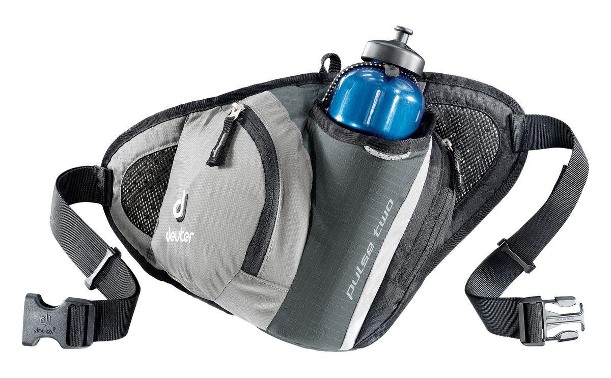 Сумка поясная Deuter Pulse Two, цвет: серый, черный39080_4700Во время лыжных прогулок, кросса по пересеченной местности, пешей прогулки или лёгкой утренней пробежки, вес поклажи должен быть минимизирован. Но в любом случае, вам, просто необходима сумка, куда можно убрать фляжку для питья, ключи, мобильный телефон и немного денег. Стильная и легкая сумка Pulse гарантирует размещение всего, что требуется.Объем: 1 л. Вес: 190 г. Размеры: 40 x 21 x 9 см. Материал: Deuter-Microrip-Nylon Deuter-Ripstop 210.
