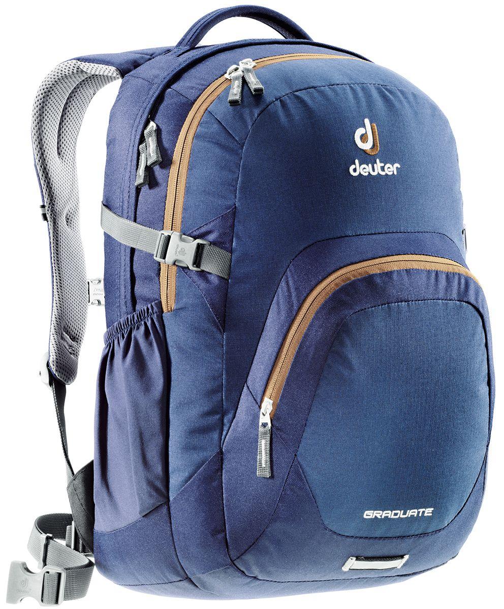 Рюкзак Deuter Daypacks Graduate, цвет: темно-синий, 28 л80232_3608Новый рюкзак для работы, учебы и вообще для чего угодно. Загружайте его тяжелыми книгами, большими пакетами с перекусом, ноутбуком - Graduate вмещает все. Все это легко нести, благодаря продуманной анатомической спинке с мягкими подушками системы Airstripes.Особенности:Система подвески Airstripes;Анатомические мягкие плечевые лямки;Основной отсек под размер папки со встроенным мягким отделением под ноутбук 15,4;Просторное второе отделение;Большой фронтальный карман с органайзером;Эластичные боковые карманы;Фиксатор для фонарика безопасности с отражателем 3M;Мягкая ручка;Съемный поясной ремень;Нагрудный ремень;Компрессионные стропы.Размер рюкзака: 48 х 33 х 23 см.