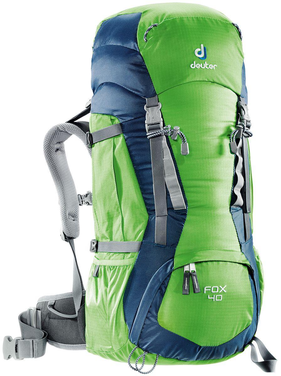 Рюкзак Deuter Fox 40, цвет: зеленый, темно-синий, 40 л36083_2304Deuter Fox оснащен продуманными деталями, которые есть в любом рюкзаке для серьезного похода. Fox готов сопровождать подростков в любых приключениях. Кроме того, подвесная система растет вместе с юным владельцем: система Vari-Quick регулируется под рост. Особенности: - подвесная система Alpine Back;- система регулировки спинки VariQuick;- петли для крепления ледоруба / телескопических палок;- боковые карманы в нижней части;- боковые компрессионные ремни;- петли daisy-chain для подвески снаряжения;- карман на молнии в верхнем клапане;- карман для мелких вещей под верхним клапаном;- петли на верхнем клапане;- дополнительный доступ в основное отделение в нижней части;- система затяжки набедренного пояса Pull-Forward;- крылья пояса с петлями для подвески снаряжения;- свисток на нагрудном ремне;- плечевые лямки с мягкими краями;- совместимость с питьевой системой.Материал: Ballistic / Super-Polytex. Вес: 1300 г.Объем: 40 л + 4 л. Размеры: 68 x 30 x 24 см.