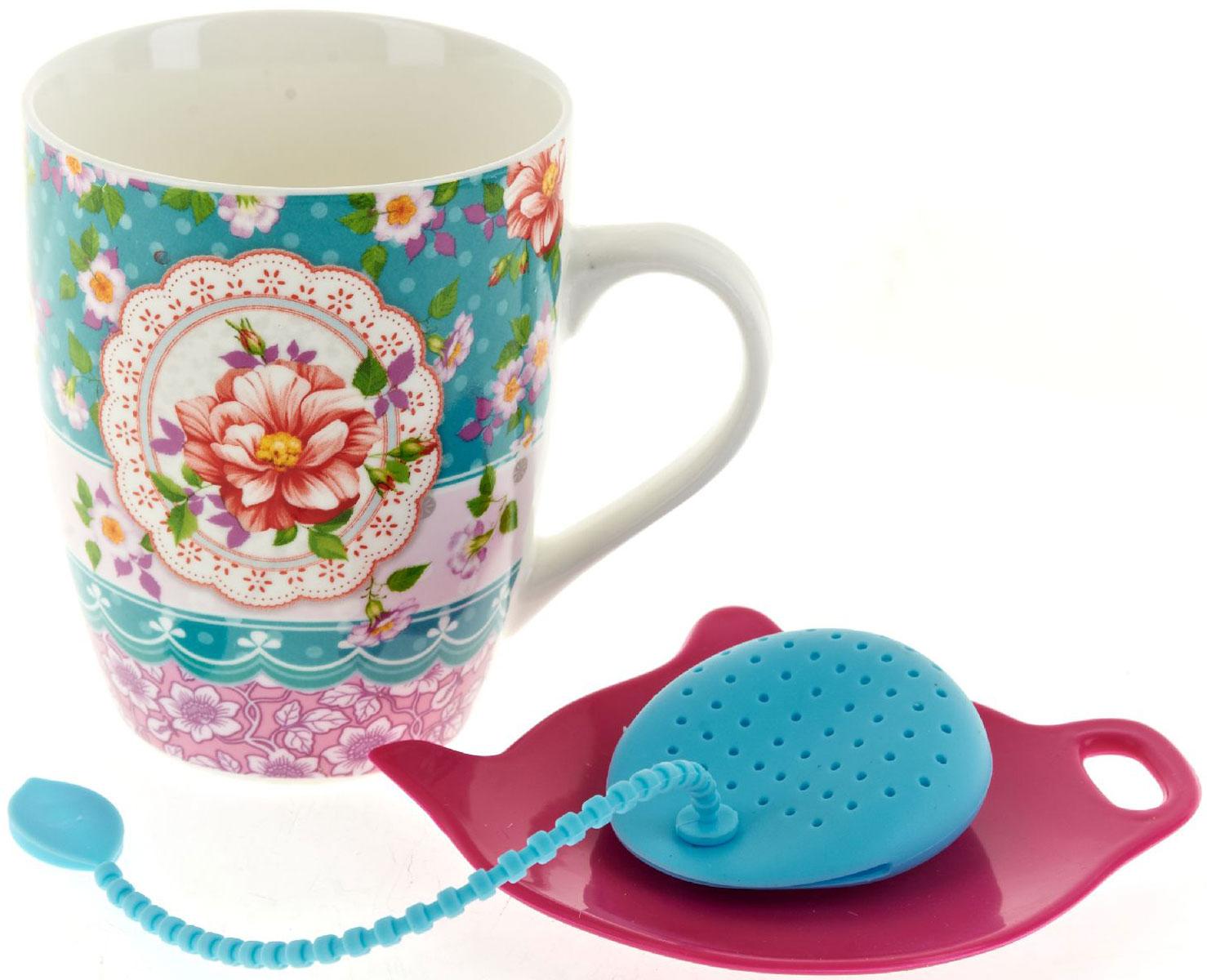 Кружка Nouvelle De France Цветочные кружева, с фильтром, с подставкой под чайный пакетик, 340 мл кружка с подставкой ecowoo кружка с подставкой