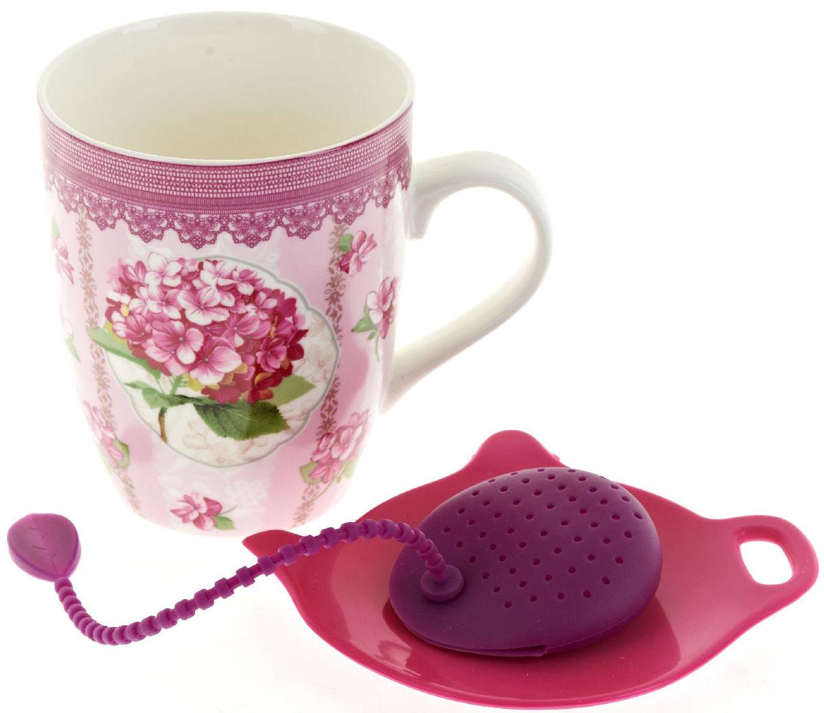 Кружка Nouvelle De France Розовая гортензия, с фильтром, с подставкой под чайный пакетик, 340 мл кружка с подставкой ecowoo кружка с подставкой