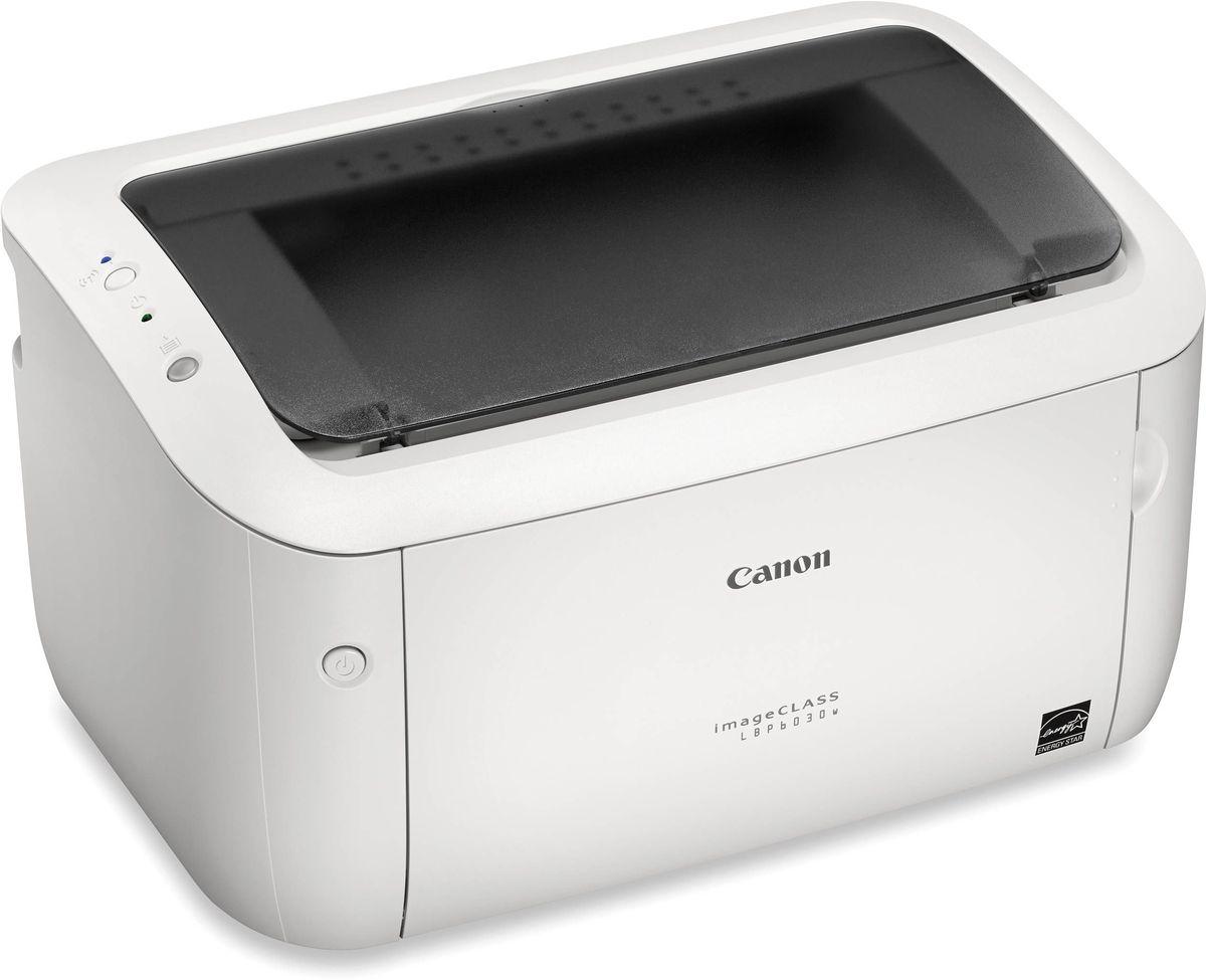 Canon i-SENSYS LBP6030w лазерный принтер8468B002Компактный доступный черно-белый лазерный принтер Canon i-SENSYS LBP6030w с возможностью подключения к беспроводной сети по Wi-Fi для печати со смарт-устройств предназначен для дома или небольшого офиса. Этот бесшумный и надежный принтер обладает повышенной энергоэффективностью и позволяет получать быстрые высококачественные результаты.Устройство легко подключается к беспроводной сети всего лишь одним нажатием кнопки Wi-Fi на принтере. Для печати с устройств Apple iOS или Android просто загрузите приложение для печати Canon с мобильных устройств, и задание будет быстро и легко отправлено на печать.Устройство i-SENSYS LBP6030w включается в работу в нужный момент и быстро выходит из спящего режима благодаря технологиям Canon Quick First-Print. Время печати первого листа (FPOT) составляет всего 7,8 секунд, а скорость профессионального лазерного принтера - 18 страниц в минуту, так что вам не придется долго ждать при печати, и вы сможете быстро вернуться к своим делам.Высокое разрешение до 2400 x 600 точек на дюйм и функция автоматической фильтрации изображения позволяют получать документы с четким текстом и высокой детализацией графики. В принтере используется MS-тонер (магнитный сферический), разработанный специально для получения оптимальных результатов печати раз за разом.Благодаря технологии Canon On Demand этот энергоэффективный принтер потребляет всего 1,6 Вт в спящем режиме, а времени на прогрев практически не требуется. Удобно расположенная на передней панели кнопка питания позволяет легко выключать устройство, помогая сократить расход энергии и снизить воздействие на окружающую среду. Более того, благодаря настраиваемому режиму автоматического выключения принтер отключается автоматически через установленное время.Благодаря уникальному механизму Canon принтер i-SENSYS LBP6030w не производит шума в режиме ожидания, а работает исключительно тихо — он не будет отвлекать вас от сосредоточенной работы.Перерабатываемый к