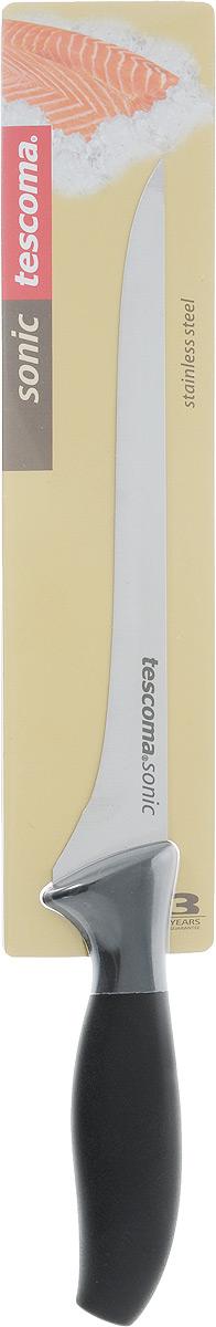Нож для тонкой нарезки Tescoma Sonic, длина лезвия 18см862038Длинный нож Tescoma Sonic для тонкой нарезки предназначен для нарезания мяса или рыбы очень тонкими ломтиками. В европейской кухне таким ножом нарезают готовые мясные или рыбные деликатесы, а в японской кухне это может быть и сырая рыба. Этот нож имеет длинное, неширокое полотно с центральным острием. Не имеет зубчиков - только ровная и качественная сталь. Его форма и конструкции не дает продуктам прилипать к лезвию. Лезвие ножа, выполнено из высококачественной нержавеющей стали, обладающей высокой твердостью и устойчивостью к коррозии. Эргономичная ручка, изготовленная из прочного пластика, позволяет держать нож свободно и максимально удобно.Длина лезвия: 18 см.Общая длина ножа: 30,5 см.