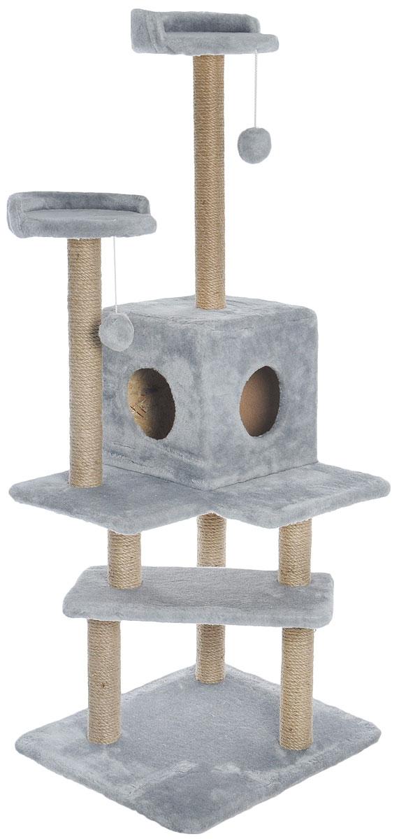 Игровой комплекс для кошек Меридиан Лестница, цвет: светло-серый, бежевый, 56 х 50 х 142 смД151ССИгровой комплекс для кошек Меридиан Лестница выполнен из высококачественного ДВП и ДСП и обтянут искусственным мехом. Изделие предназначено для кошек. Ваш домашний питомец будет с удовольствием точить когти о специальные столбики, изготовленные из джута. А отдохнуть он сможет либо на полках, либо в домике. Общий размер: 56 х 50 х 142 см.Размер верхних полок: 27 х 27 см.Размер домика: 31 х 31 х 32 см.