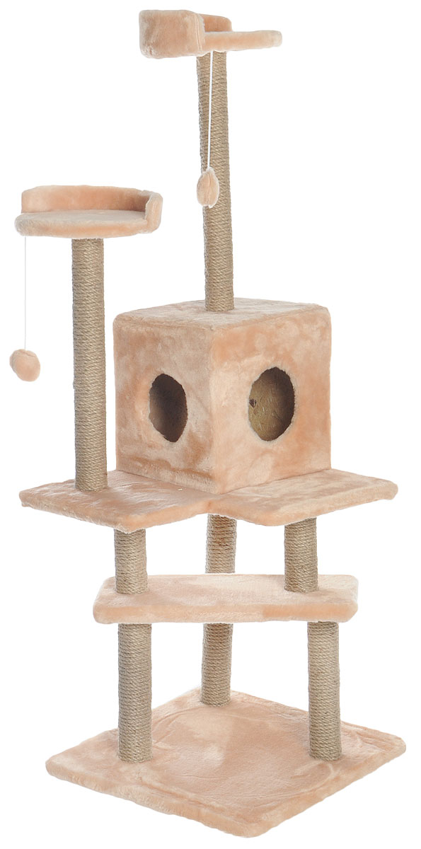 Игровой комплекс для кошек Меридиан Лестница, цвет: светло-коричневый, бежевый, 56 х 50 х 142 смД151СКИгровой комплекс для кошек Меридиан Лестница выполнен из высококачественного ДВП и ДСП и обтянут искусственным мехом. Изделие предназначено для кошек. Ваш домашний питомец будет с удовольствием точить когти о специальные столбики, изготовленные из джута. А отдохнуть он сможет либо на полках, либо в домике. Общий размер: 56 х 50 х 142 см.Размер верхних полок: 27 х 27 см.Размер домика: 31 х 31 х 32 см.