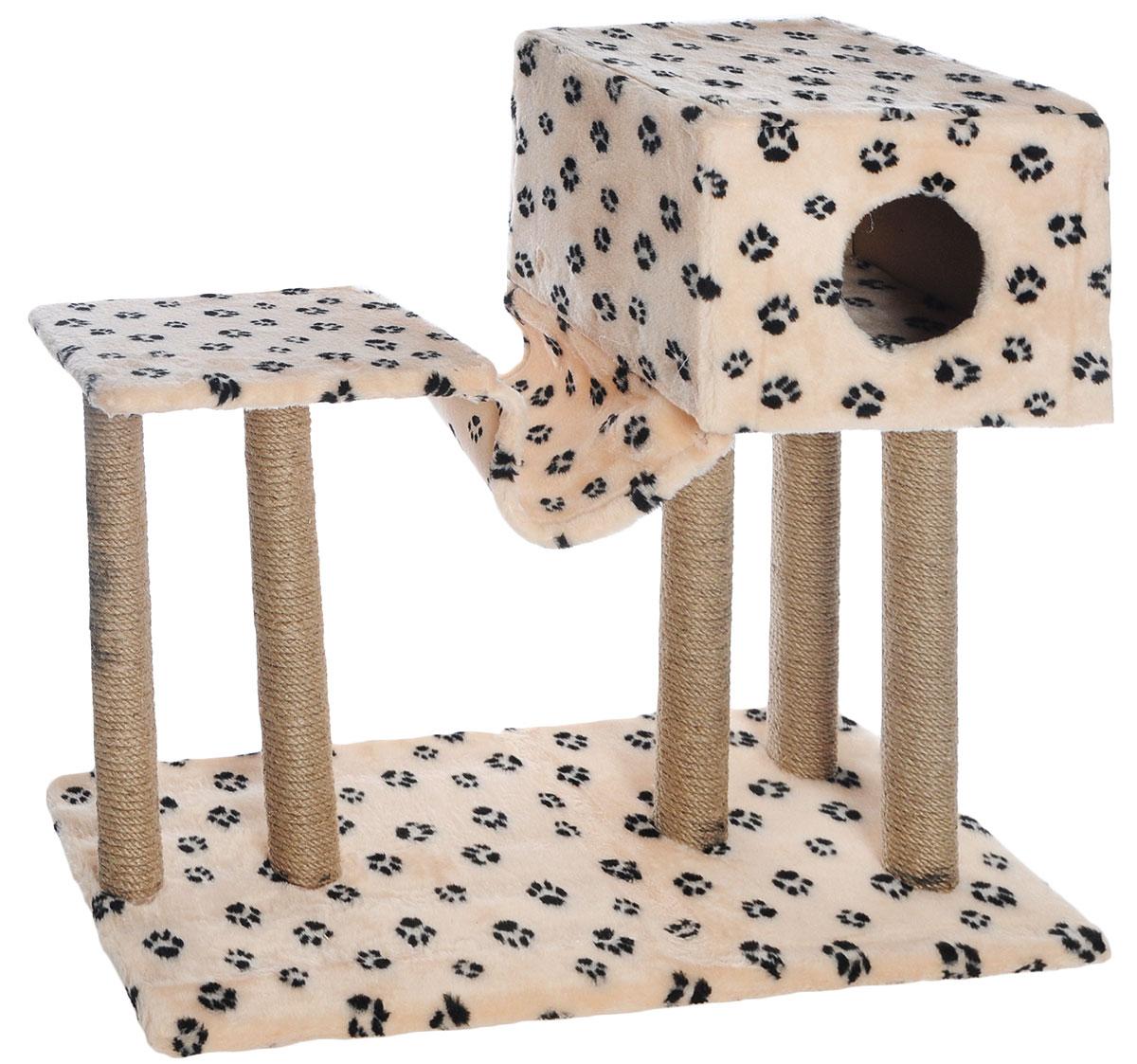 Игровой комплекс для кошек Меридиан, с домиком и гамаком, цвет: бежевый, черный, 90 х 40 х 80 смД126 Ла_бежевый, черные лапкиИгровой комплекс для кошек Меридиан выполнен из высококачественного ДВП и ДСП и обтянут искусственным мехом. Изделие предназначено для кошек. Ваш домашний питомец будет с удовольствием точить когти о специальные столбики, изготовленные из джута. А отдохнуть он сможет в домике, на полках или в удобном гамаке.Общий размер: 90 х 40 х 80 см.Размер основания: 90 х 40 см.Высота полки: 53 см.Размер домика: 40 х 40 х 28 см.Размер полки: 39 х 39 см.