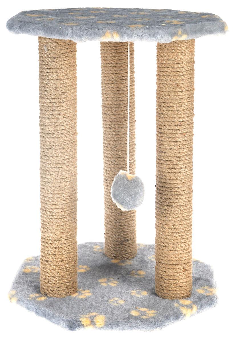 Когтеточка Меридиан  Ротонда , с игрушкой, цвет: серый, желтый, бежевый, 35 х 35 х 50 см - Когтеточки и игровые комплексы
