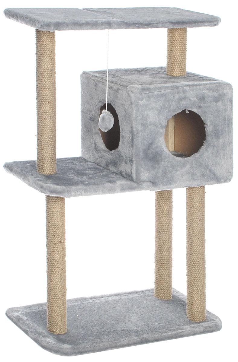 Домик-когтеточка Меридиан, квадратный, трехэтажный, с полкой, цвет: светло-серый, бежевый, 65 х 36 х 105 см лежанка для животных добаз цвет светло розовый серый 65 х 65 х 20 см