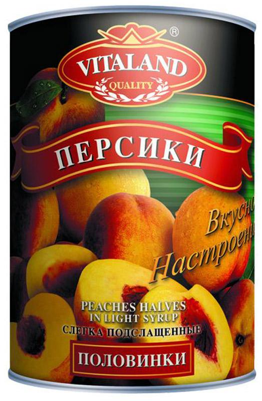 Vitaland персики половинками, 850 мл vitaland ананасы кусочки 850 мл