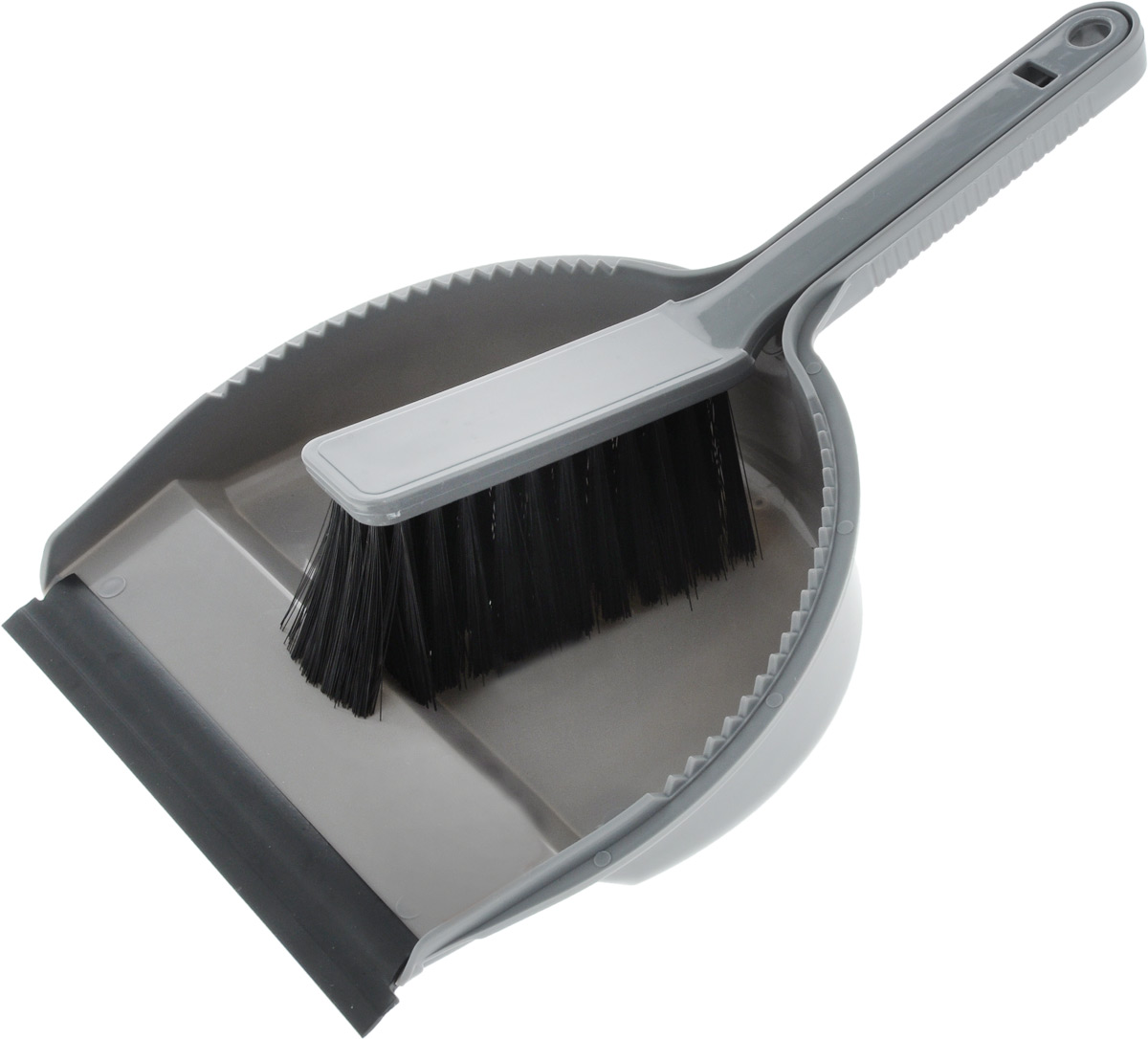 Набор для уборки Svip Лаура, с кромкой, цвет: серебряный, 2 предметаSV3026СБНабор для уборки Svip Клио, состоит из щетки-сметки и совка, выполненных из полипропилена. Он станет незаменимым помощником в деле удаления пыли и мусора с различных поверхностей. Ворс щетки достаточно длинный, что позволяет собирать даже крупный мусор. Края совка оснащены зубчиками для чистки щетки после ее использования. Совок имеетрезиновую кромку,благодаря которой удобнее собирать мусор. Ручка совка позволяетприкреплять его к рукоятке щетки. На рукояти изделий имеется специальное отверстие дляподвешивания. Длина щетки-сметки: 25,2 см.Длина ворса: 5,5 см.Размер рабочей поверхности совка: 18,5 х 19 см. Размер совка (с учетом ручки): 33 х 19 х 6 см.