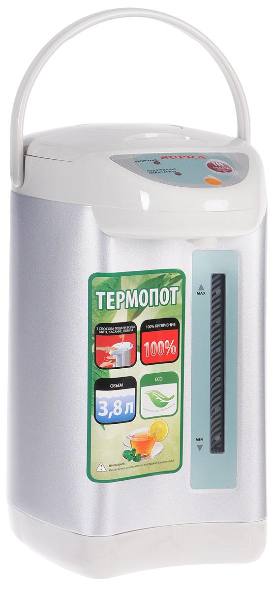 Supra TPS-3002 термопотTPS-3002Пока еще редкие чайники оборудованы терморегулятором. Да и держат температуру водыони минут 30, не больше. Другое дело - термопот - такой, как SUPRA TPS-3002. С нимгорячая вода (80-85 °С) всегда будет в доступе. Это особенно удобно, когда в семье естьмаленькие дети. По мощности такие приборы, конечно, уступают чайникам, но наш герой -приятное исключение. Полный объем - 3.8 литра воды - он вскипятит за 20 минут. Естьрежим повторного кипячения: здесь вам придется ждать минуты три, не больше. Внутренняякамера прибора сделана из нержавеющей стали, так что на качество воды вы жаловаться небудете. Тем более что устройство оборудовано фильтром для задержания накипи. Термопотоборудован ручным и электрическим насосом.