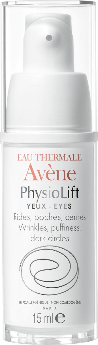 Avene Крем для контура глаз Physio Lift от глубоких морщин, 15 млC52680Крем для контура глаз от глубоких морщин разглаживает глубокие морщины, увлажняет кожу и повышает упругость кожи контура глаз, уменьшает отечность и устойчивые темные круги под глазами благодаря эксклюзивному комплексу взаимодополняющих активных антивозрастных компонентов. АскофилинТM – активный и высокотехнологичный антивозрастной компонент, восстанавливающий структуру кожи. Моно-олигомеры гиалуроновой кислоты - интенсивно стимулируют выработку натуральной гиалуроновой кислоты в коже Ретинальдегид – дерматологический активный антивозрастной компонент Сульфат декстрана – устраняет застойные явления, обеспечивает дренажный эффект.