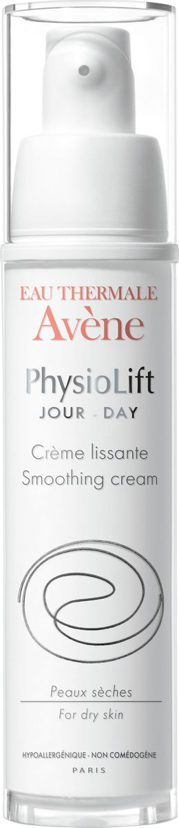 Avene Дневной разглаживающий крем Physio Lift от глубоких морщин, 30 млC52602Дневной крем Физиолифт разглаживает глубокие морщины, увлажняет кожу и повышает ее упругость благодаря эксклюзивному запатентованному* комплексу взаимодополняющих активных антивозрастных компонентов.АскофилинТM – активный и высокотехнологичный антивозрастной компонент, восстанавливающий структуру кожи.Моно-олигомеры гиалуроновой кислоты - интенсивно стимулируют выработку натуральной гиалуроновой кислоты в коже, благодаря особому размеру, обеспечивают заполнение морщин и делают кожу визуально более объемной.Претокоферил – мощный антиоксидант, защищает кожу, сохраняя ее сияние.Благодаря мягкой текстуре, обладающей нежным ароматом и высокому содержанию успокаивающей Термальной воды Avene в составе, Дневной крем Физиолифт обеспечивает сухой коже смягчение, питание и чувство комфорта.