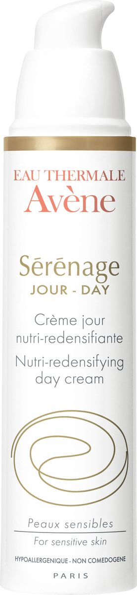 Avene Дневной крем Sеrеnage от морщин для зрелой кожи лица и шеи 40 мл03034038Исследователи Дерматологических лабораторий Avene разработали комбинацию ингредиентов, способных восстанавливать упругость кожи, повышать жизнеспособность кожи и придавать комфорт зрелой коже.Дневной крем от морщин Серенаж содержит:- глюколеол – обеспечивает интенсивное питание кожи, стимулируя естественный синтез липидов, сохраняя действие в течение всего дня; - фрагментированная гиалуроновая кислота (H.A.F.) сокращает глубину морщин, увеличивает упругость кожи; - пре-токоферил защищает кожу от агрессивного воздействия окружающей среды; - термальная вода Avene оказывает противовоспалительное и успокаивающее действие.День за днем тонкая и хрупкая кожа обретает живой тон, сияние и комфорт, который сохраняется в течение всего дня. Восстанавливается жизнеспособность кожи. Нежная текстура крема придает коже свежесть. Кожа становится мягкой, гладкой, без жирного эффекта. Крем имеет легкий аромат и легко наносится на кожу.