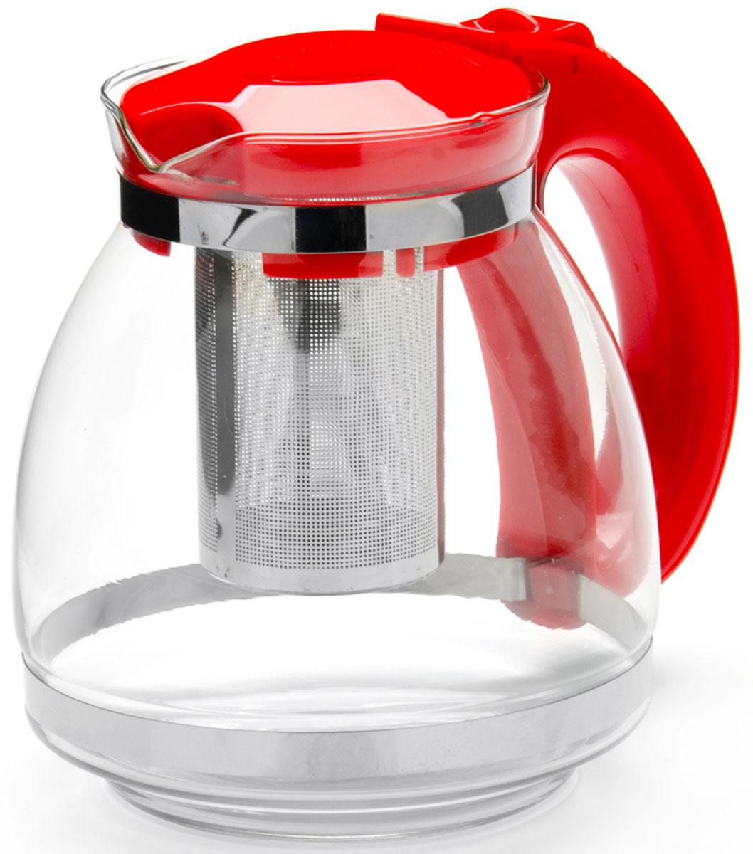 Чайник заварочный Mayer & Boch, с фильтром, цвет: красный, 1,5 л. 26170-1 чайник mayer & boch цвет стальной бирюзовый золотой 4 л 1046a