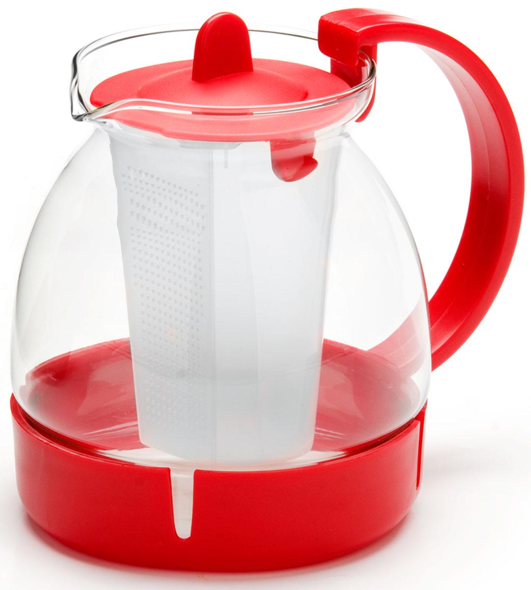 Чайник заварочный Mayer & Boch, с фильтром, цвет: красный, 1,25 л. 26171-126171-1Заварочный чайник Mayer & Boch изготовлен из термостойкого боросиликатного стекла, фильтр выполнен из полипропилена. Изделия из стекла не впитывают запахи, благодаря чему вы всегда получите натуральный, насыщенный вкус и аромат напитков. Заварочный чайник из стекла удобно использовать для повседневного заваривания чая практически любого сорта. Но цветочные, фруктовые, красные и желтые сорта чая лучше других раскрывают свой вкус и аромат при заваривании именно в стеклянных чайниках, а также сохраняют все полезные ферменты и витамины, содержащиеся в чайных листах. Стальной фильтр гарантирует прозрачность и чистоту напитка от чайных листьев, при этом сохранив букет и насыщенность чая.Прозрачные стенки чайника дают возможность насладиться насыщенным цветом заваренного чая. Изящный заварочный чайник Mayer & Boch будет прекрасно смотреться в любом интерьере. Подходит для мытья в посудомоечной машине.