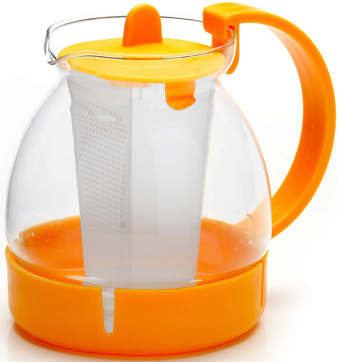Чайник заварочный Mayer & Boch, с фильтром, цвет: желтый, 1,25 л. 26171-226171-2Заварочный чайник Mayer & Boch изготовлен из термостойкого боросиликатного стекла, фильтр выполнен из полипропилена. Изделия из стекла не впитывают запахи, благодаря чему вы всегда получите натуральный, насыщенный вкус и аромат напитков. Заварочный чайник из стекла удобно использовать для повседневного заваривания чая практически любого сорта. Но цветочные, фруктовые, красные и желтые сорта чая лучше других раскрывают свой вкус и аромат при заваривании именно в стеклянных чайниках, а также сохраняют все полезные ферменты и витамины, содержащиеся в чайных листах. Стальной фильтр гарантирует прозрачность и чистоту напитка от чайных листьев, при этом сохранив букет и насыщенность чая.Прозрачные стенки чайника дают возможность насладиться насыщенным цветом заваренного чая. Изящный заварочный чайник Mayer & Boch будет прекрасно смотреться в любом интерьере. Подходит для мытья в посудомоечной машине.