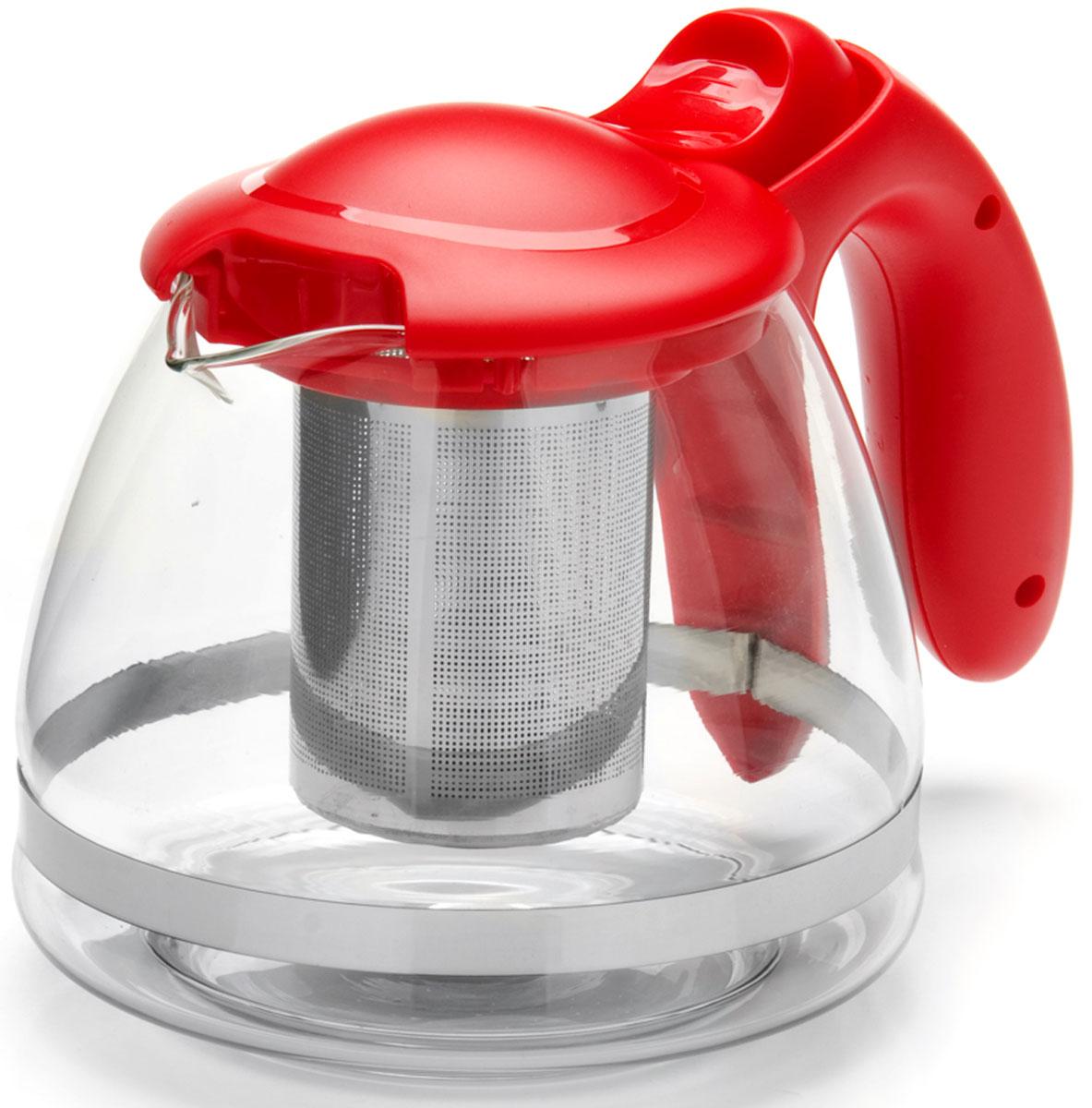 Чайник заварочный Mayer & Boch, с фильтром, цвет: прозрачный, красный, 1,2 л. 26172-126172-1Заварочный чайник изготовлен из термостойкого боросиликатного стекла, фильтр выполнены из нержавеющей стали. Изделия из стекла не впитывают запахи, благодаря чему вы всегда получите натуральный, насыщенный вкус и аромат напитков. Подходит для мытья в посудомоечной машине.Объем чайника: 1200 мл.
