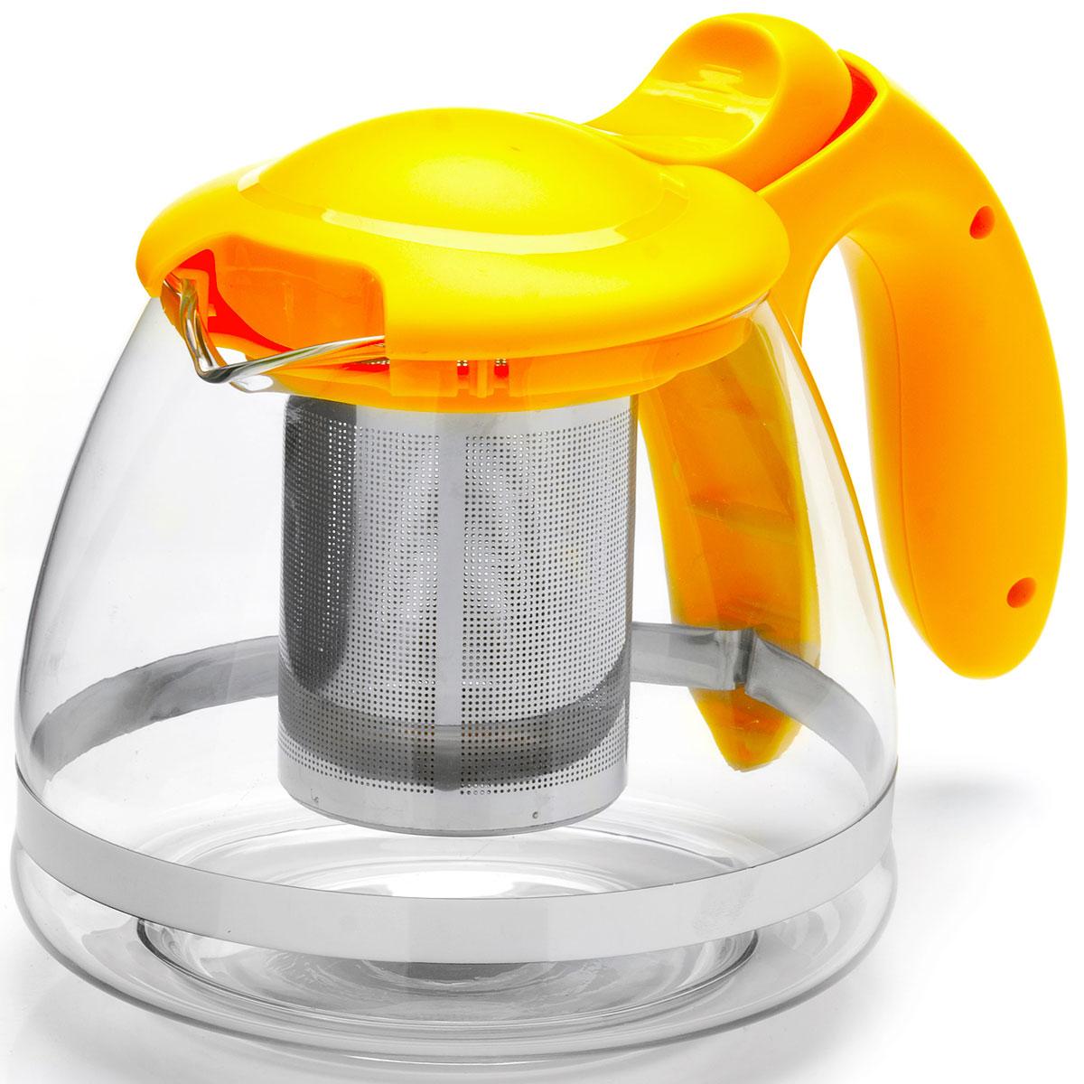 Чайник заварочный Mayer & Boch, с фильтром, цвет: желтый, прозрачный, 1,2 л. 26172-226172-2Заварочный чайник Mayer & Boch изготовлен из термостойкого боросиликатного стекла, крышка и фильтр выполнены из нержавеющей стали. Изделия из стекла не впитывают запахи, благодаря чему вы всегда получите натуральный, насыщенный вкус и аромат напитков. Заварочный чайник из стекла удобно использовать для повседневного заваривания чая практически любого сорта. Но цветочные, фруктовые, красные и желтые сорта чая лучше других раскрывают свой вкус и аромат при заваривании именно в стеклянных чайниках, а также сохраняют все полезные ферменты и витамины, содержащиеся в чайных листах. Стальной фильтр гарантирует прозрачность и чистоту напитка от чайных листьев, при этом сохранив букет и насыщенность чая. Прозрачные стенки чайника дают возможность насладиться насыщенным цветом заваренного чая. Изящный заварочный чайник Mayer & Boch будет прекрасно смотреться в любом интерьере. Подходит для мытья в посудомоечной машине.