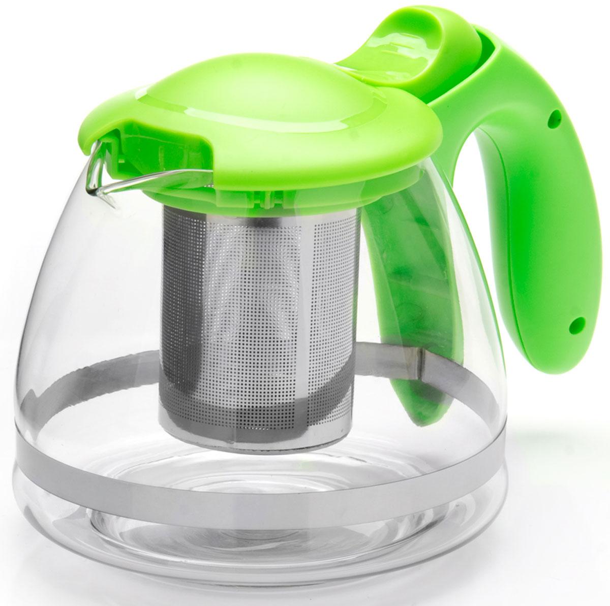 Чайник заварочный Mayer & Boch, с фильтром, цвет: зеленый, 1,2 л. 26172-326172-3Заварочный чайник Mayer & Boch изготовлен из термостойкого боросиликатного стекла, фильтр выполнен из нержавеющей стали. Изделия из стекла не впитывают запахи, благодаря чему вы всегда получите натуральный, насыщенный вкус и аромат напитков.Заварочный чайник из стекла удобно использовать для повседневного заваривания чая практически любого сорта. Но цветочные, фруктовые, красные и желтые сорта чая лучше других раскрывают свой вкус и аромат при заваривании именно в стеклянных чайниках, а также сохраняют все полезные ферменты и витамины, содержащиеся в чайных листах.Стальной фильтр гарантирует прозрачность и чистоту напитка от чайных листьев, при этом сохранив букет и насыщенность чая. Прозрачные стенки чайника дают возможность насладиться насыщенным цветом заваренного чая. Изящный заварочный чайник Mayer & Boch будет прекрасно смотреться в любом интерьере.Подходит для мытья в посудомоечной машине.