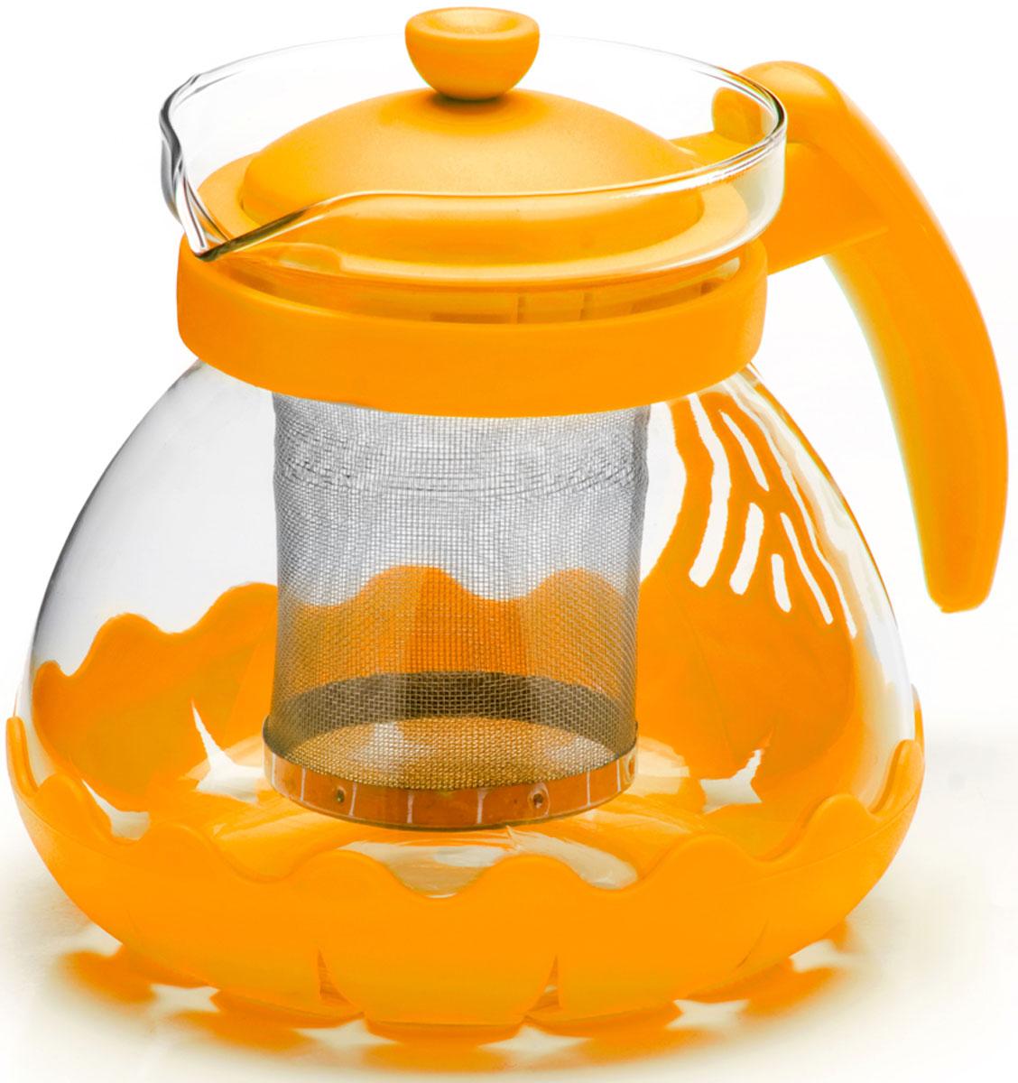 Чайник заварочный Mayer & Boch, с фильтром, цвет: желтый, 700 мл. 26173-226173-2Заварочный чайник Mayer & Boch изготовлен из термостойкого боросиликатного стекла, фильтр выполнен из нержавеющей стали. Изделия из стекла не впитывают запахи, благодаря чему вы всегда получите натуральный, насыщенный вкус и аромат напитков. Заварочный чайник из стекла удобно использовать для повседневного заваривания чая практически любого сорта. Но цветочные, фруктовые, красные и желтые сорта чая лучше других раскрывают свой вкус и аромат при заваривании именно в стеклянных чайниках, а также сохраняют все полезные ферменты и витамины, содержащиеся в чайных листах. Стальной фильтр гарантирует прозрачность и чистоту напитка от чайных листьев, при этом сохранив букет и насыщенность чая.Прозрачные стенки чайника дают возможность насладиться насыщенным цветом заваренного чая. Изящный заварочный чайник Mayer & Boch будет прекрасно смотреться в любом интерьере. Подходит для мытья в посудомоечной машине.