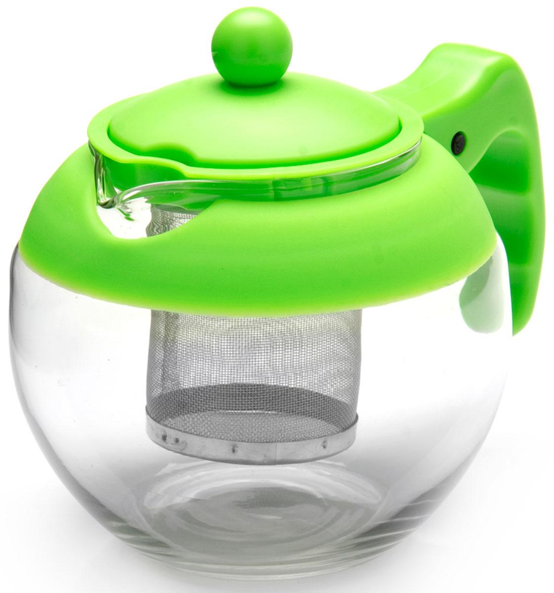 Чайник заварочный Mayer & Boch, с фильтром, цвет: зеленый, 750 мл. 26174-326174-3Заварочный чайник Mayer & Boch изготовлен из термостойкого боросиликатного стекла, фильтр выполнен из нержавеющей стали. Изделия из стекла не впитывают запахи, благодаря чему вы всегда получите натуральный, насыщенный вкус и аромат напитков. Заварочный чайник из стекла удобно использовать для повседневного заваривания чая практически любого сорта. Но цветочные, фруктовые, красные и желтые сорта чая лучше других раскрывают свой вкус и аромат при заваривании именно в стеклянных чайниках, а также сохраняют все полезные ферменты и витамины, содержащиеся в чайных листах. Стальной фильтр гарантирует прозрачность и чистоту напитка от чайных листьев, при этом сохранив букет и насыщенность чая.Прозрачные стенки чайника дают возможность насладиться насыщенным цветом заваренного чая. Изящный заварочный чайник Mayer & Boch будет прекрасно смотреться в любом интерьере. Подходит для мытья в посудомоечной машине.