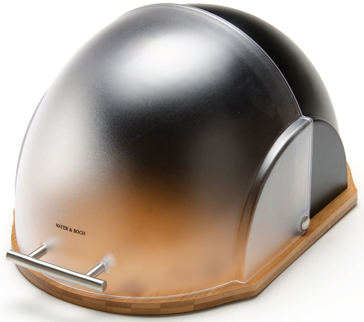 Хлебница Mayer & Boch, 27 х 21 х 38 см. 2619426194Хлебница Mayer & Boch, выполненная в оригинальном дизайне, позволит сохранить ваш хлеб свежим и вкусным. Изделие имеет основание из бамбука. Полупрозрачная пластиковая крышка плавно открывается и является герметичной. Крышка оснащена ручкой. Эксклюзивный дизайн, эстетика и функциональность хлебницы делают ее превосходным аксессуаром на вашей кухне.