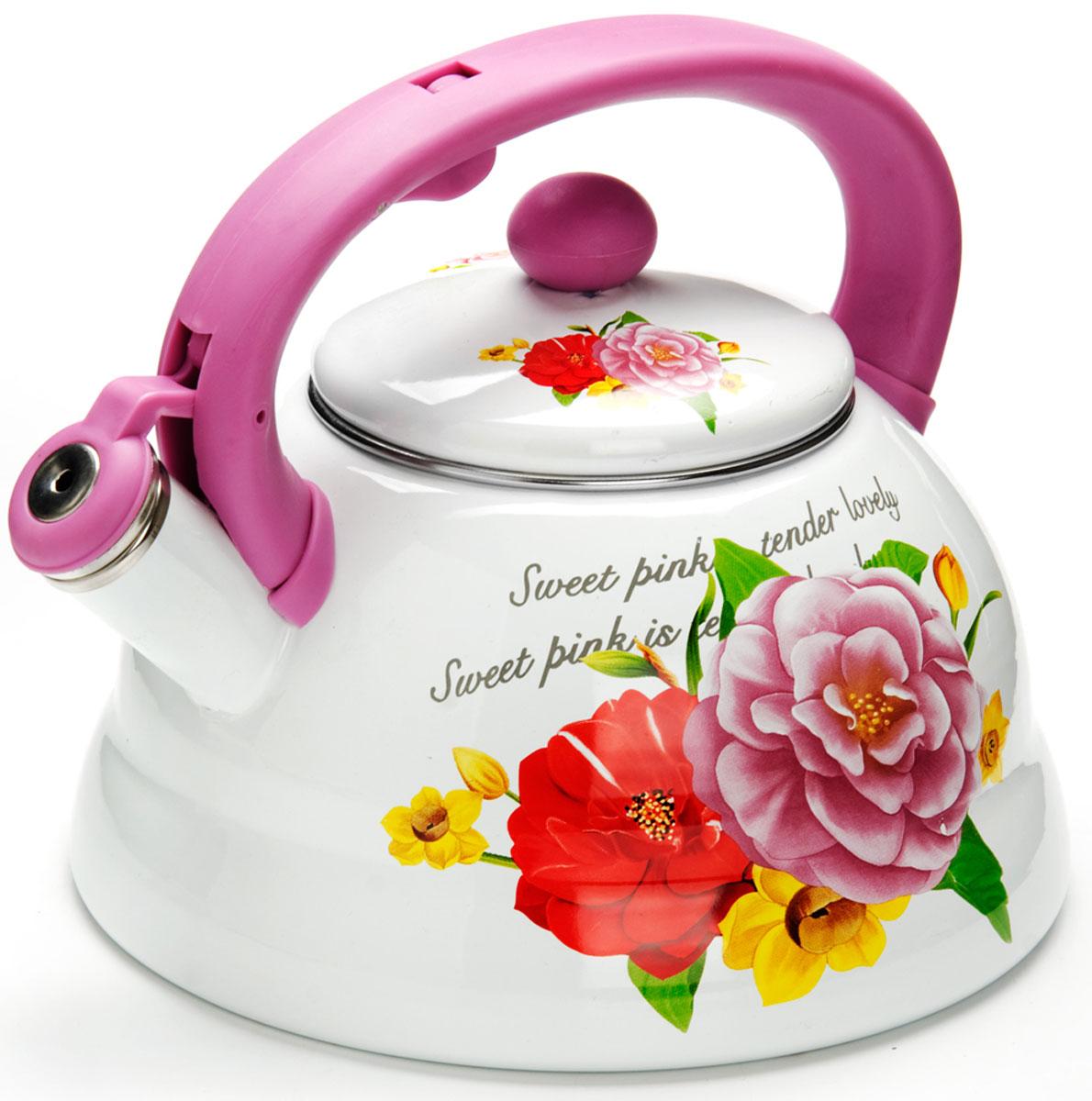 Чайник Mayer & Boch  Розы , со свистком, цвет: светло-фиолетовый, 3 л. 26255 - Посуда для приготовления