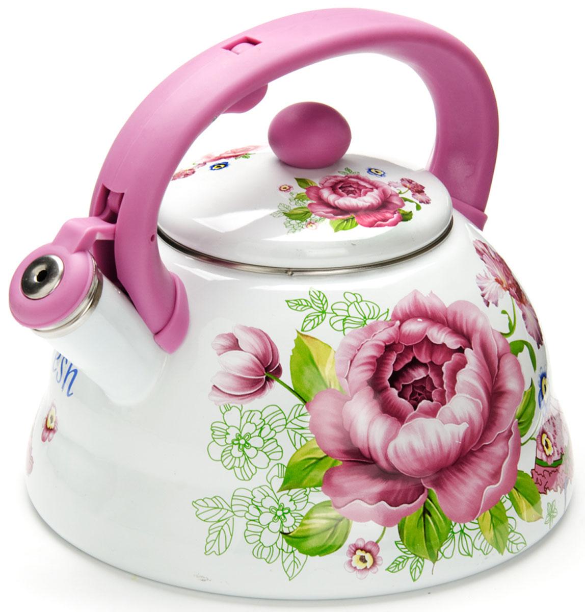 Чайник Mayer & Boch  Розы , со свистком, цвет: светло-фиолетовый, 3 л. 26257 - Посуда для приготовления