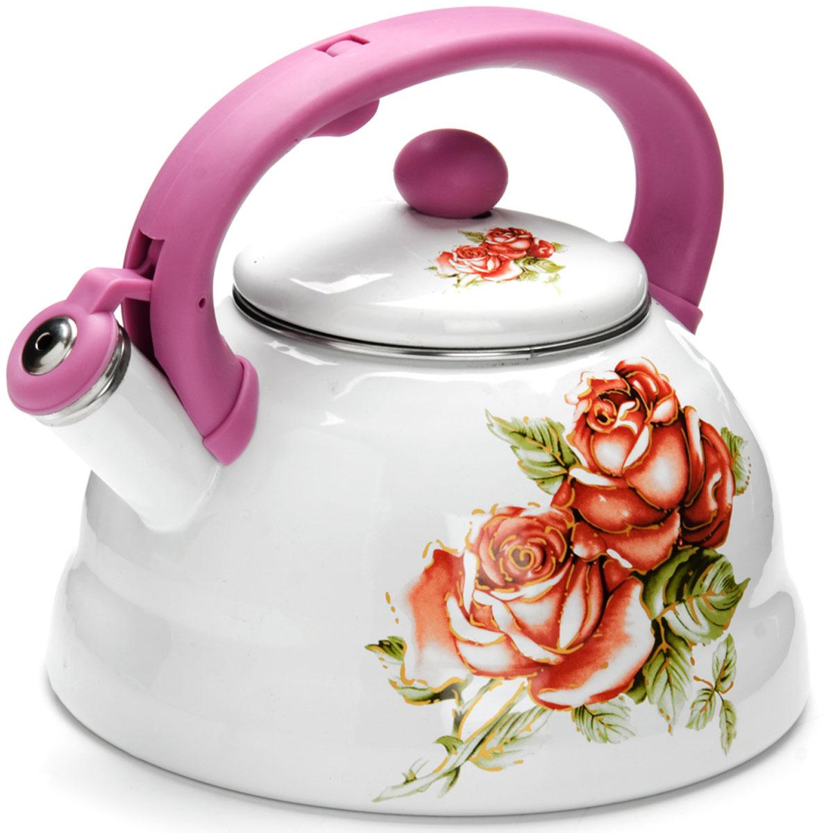 Чайник Mayer & Boch  Розы , со свистком, цвет: фиолетовый, 3 л. 26258 - Посуда для приготовления