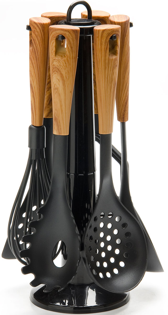 Набор кухонных принадлежностей Mayer & Boch, на подставке, цвет: коричневый, черный, 7 предметов. 2686526865Набор кухонных принадлежностей Mayer & Boch очень удобен в использовании. В набор входит пресс для картофеля, лопатка с прорезями, половник, шумовка, венчик, ложка для спагетти. Рабочая поверхность предметов выполнена из нейлона. Длинные эргономичные нескользящие пластиковые ручки защитят ваши руки от ожогов. Предметы набора не окислятся со временем и не испортят вкус блюд. Набор имеет стильную стойку-подставку, которая прекрасно впишется в любой кухонный интерьер. Набор кухонных принадлежностей Mayer & Boch придаст вашей кухне элегантность, поднимет ваше настроение и превратит приготовление еды в настоящее удовольствие.