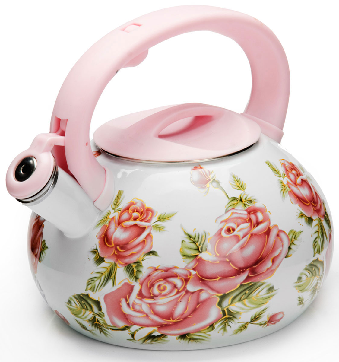 Чайник Mayer & Boch Цветы, со свистком, 3 л. 2648626486Чайник выполнен из высококачественной углеродистой стали. Углеродистая сталь устойчива к высоким температурам и не теряет своих свойств даже при очень сильном нагреве. Капсулированное дно с прослойкой из алюминия обеспечивает наилучшее распределение тепла. Внешняя и внутренняя поверхности чайника покрыты эмалью. Эргономичная ручка выполнена из бакелита. Носик чайника оснащен насадкой-свистком, который позволяет контролировать процесс кипячения или подогрева воды. Подходит для использования на всех типах плит, включая индукционные. Подходит для мытья в посудомоечной машине.Объем чайника: 3 л.