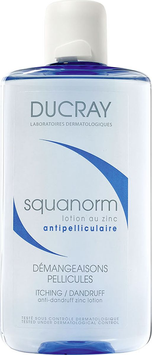 Ducray Лосьон от перхоти с цинком Squanorm, 200 млC27714Лосьон от перхоти Squanorm (Скванорм) рекомендуется использовать при раздраженной коже головы, причиной которой является перхоть. Лосьон дополняет действие шампуня от перхоти, а также может быть использован после окончания курса применения шампуня. Снимает зуд с 1го применения. Возвращает здоровье коже волосистой части головы, очищает ее. Лосьон быстро высыхает и не оставляет жирного эффекта на волосах. Не повреждает цвет окрашенных волос.Основные компоненты:КЕЛЮАМИД разрушает сухие и жирные чешуйки перхоти. СУЛЬФАТ ЦИНКА помогает уменьшить зуд и покраснения кожи головы.