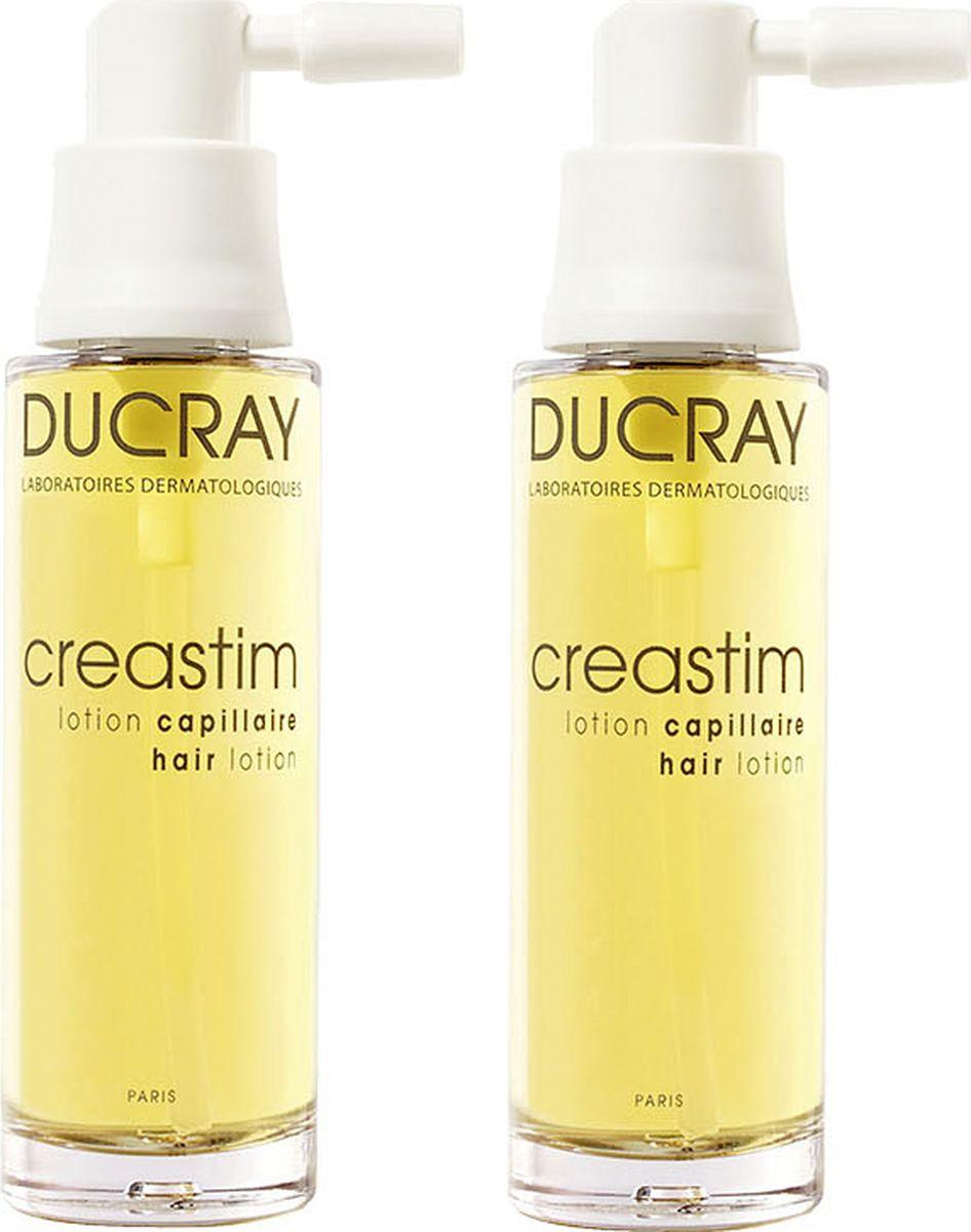 Ducray Лосьон Creastim против выпадения волос 2х30 млC42157Инновационный лосьон Creastim (Креастим) значительно уменьшает реакционное выпадение волос: после беременности, стресса, переутомления, и стимулирует рост новых.Основные компоненты: Синергия компонентов: ТЕТРАПЕПТИДА, КРЕАТИНА и ВИТАМИНОВ B5, B6, B8 обеспечивает восстановление структуры, плотности и жизненной силы волос за счет усиленного питания волосяных луковиц.Благодаря своей легкой текстуре лосьон оптимально наносится, не делая волосы жирными. Обладая составом, разработанным для максимальной переносимости, этот лосьон подходит для самой чувствительной кожи волосистой части головы.Подходит молодым мамам в период после рождения ребенка, в том числе во время грудного вскармливания.