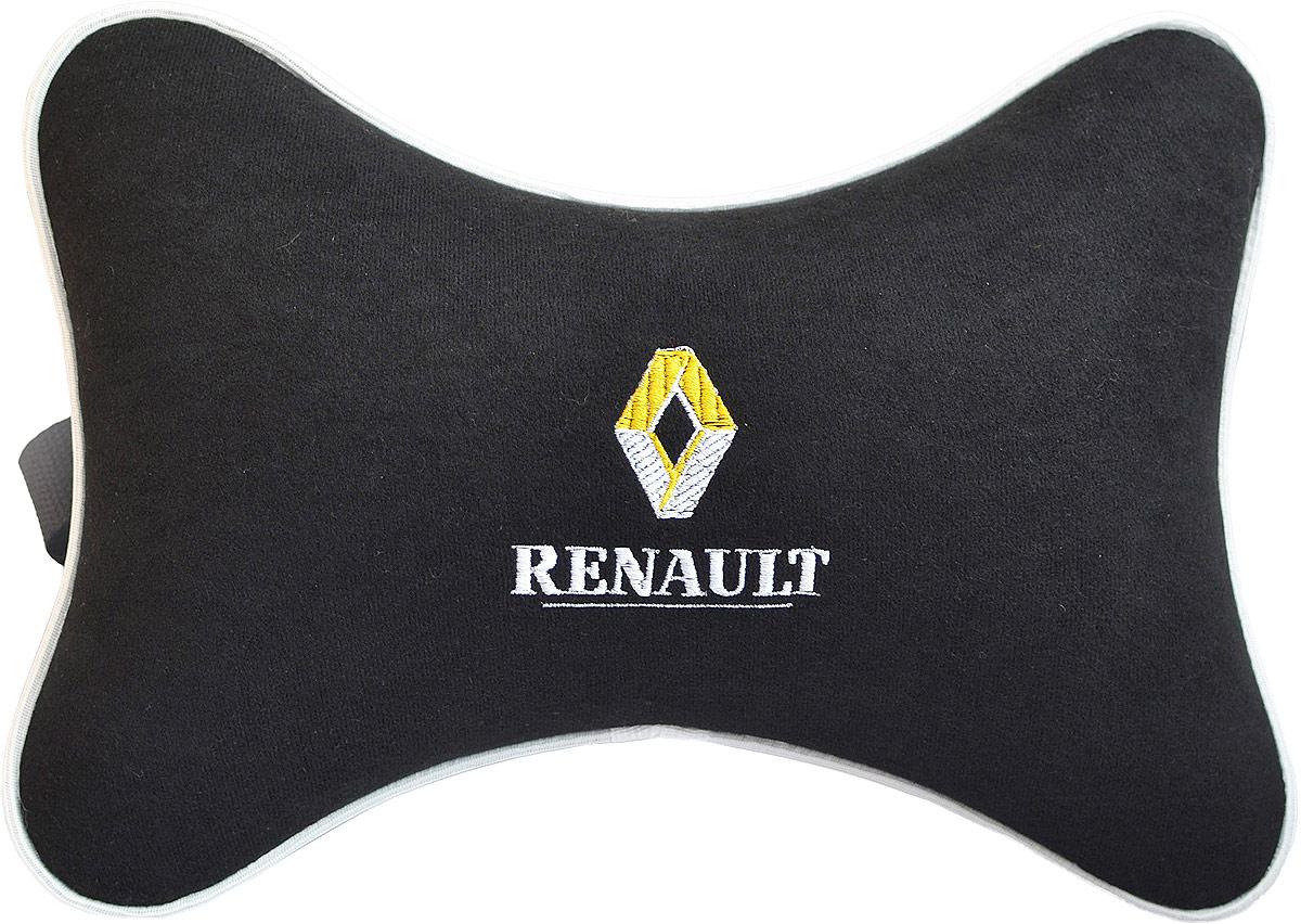 Подушка на подголовник Auto Premium Renault, цвет: черный. 3743037430Подушка на подголовник, выполненная из велюра - это прежде всего лучший способ создать комфорт для шеи и головы во время пребывания в автомобильном кресле. Подушка крепится к сиденью. Меньше утомляемость - а следовательно выше внимание и концентрация на дороге.Одинакова удобна для пассажира и водителя.