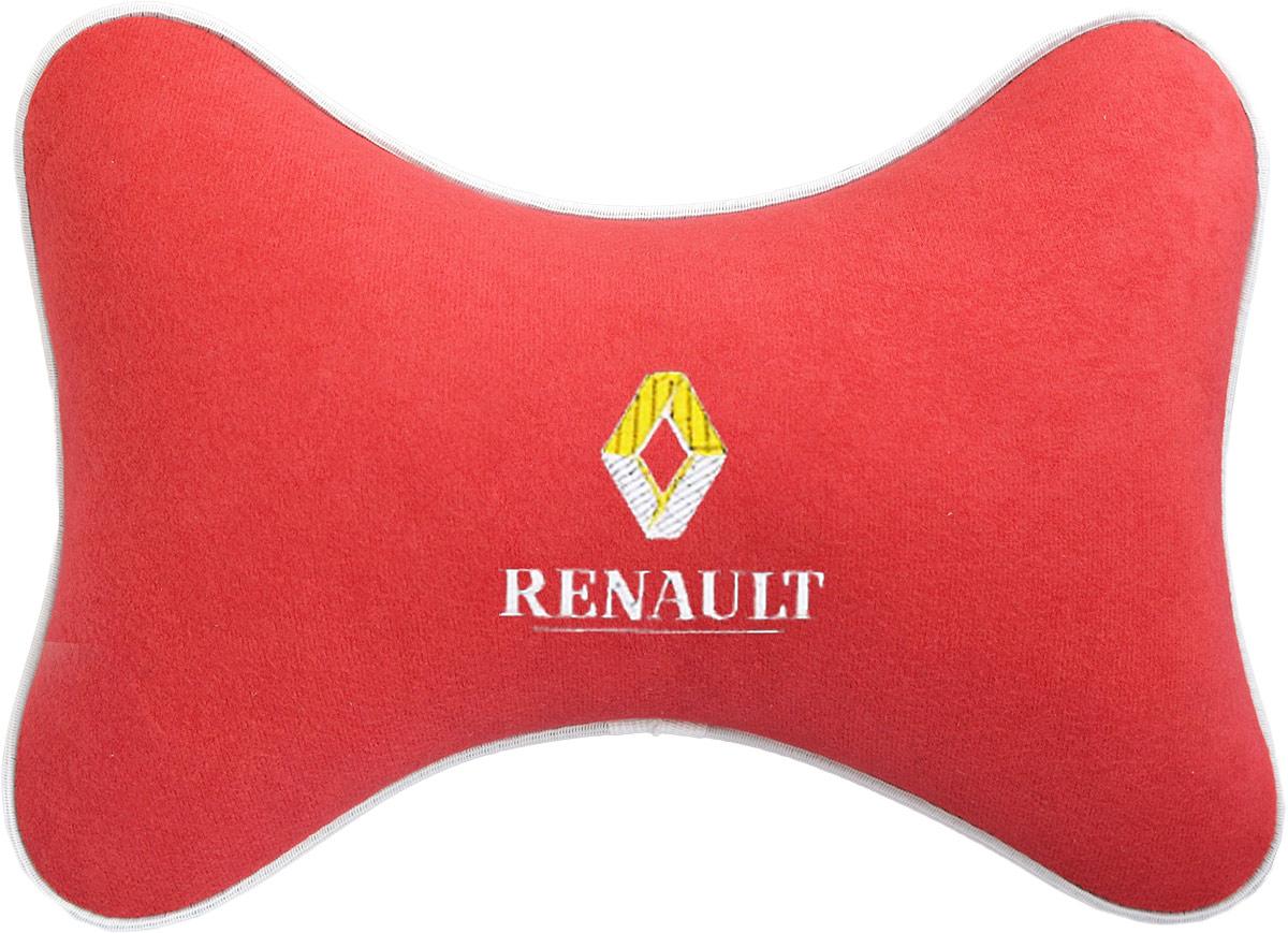 Подушка на подголовник Auto Premium Renault, цвет: красный. 3747037470Подушка на подголовник Auto Premium Renault - это прежде всего лучший способ создать комфорт для шеи и головы во время пребывания в автомобильном кресле. Большинство штатных подголовников устроены так, что до них попросту не дотянуться. Данный аксессуар полностью решает эту проблему, создавая мягкую ортопедическою поддержку. Подушка крепится к сиденью, а это значит один раз поставил - и забыл.Меньше утомляемость - а следовательно выше внимание и концентрация на дороге.Одинакова удобна для пассажира и водителя.Подушка выполнена из велюра.