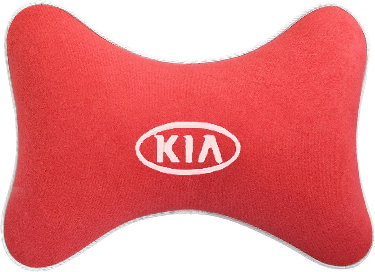 Подушка на подголовник Auto Premium Kia, цвет: красный. 3747137471Подушка на подголовник - это прежде всего лучший способ создать комфорт для шеи и головы во время пребывания в автомобильном кресле. Большинство штатных подголовников устроены так, что до них попросту не дотянуться. Данный аксессуар полностью решает эту проблему, создавая мягкую ортопедическою поддержку. Подушка крепится к сиденью, а это значит один раз поставил - и забыл.Меньше утомляемость - а следовательно выше внимание и концентрация на дороге.Одинакова удобна для пассажира и водителя.Подушка выполнена из велюра.