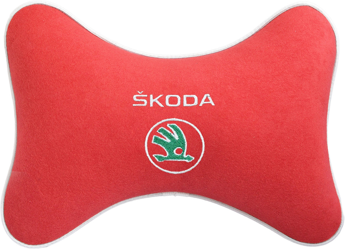 Подушка на подголовник Auto Premium Skoda, цвет: красный. 3747237472Подушка на подголовник - это прежде всего лучший способ создать комфорт для шеи и головы во время пребывания в автомобильном кресле. Большинство штатных подголовников устроены так, что до них попросту не дотянуться. Данный аксессуар полностью решает эту проблему, создавая мягкую ортопедическою поддержку. Подушка крепится к сиденью, а это значит один раз поставил - и забыл.Меньше утомляемость - а следовательно выше внимание и концентрация на дороге.Одинакова удобна для пассажира и водителя.Подушка выполнена из велюра.