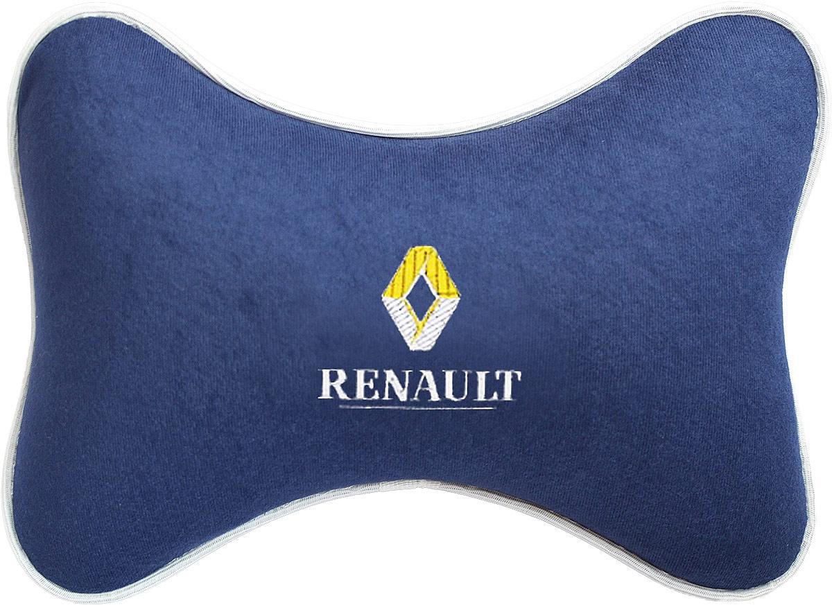 Подушка на подголовник Auto Premium Renault, цвет: синий. 3749037490Подушка на подголовник Auto Premium - это прежде всего лучший способ создать комфорт для шеи и головы во время пребывания в автомобильном кресле. Подушка выполнена из велюра.Большинство штатных подголовников устроены так, что до них попросту не дотянуться. Данный аксессуар полностью решает эту проблему, создавая мягкую ортопедическою поддержку. Подушка крепится к сиденью, а это значит один раз поставил - и забыл.Меньше утомляемость - а следовательно выше внимание и концентрация на дороге.Одинакова удобна для пассажира и водителя.