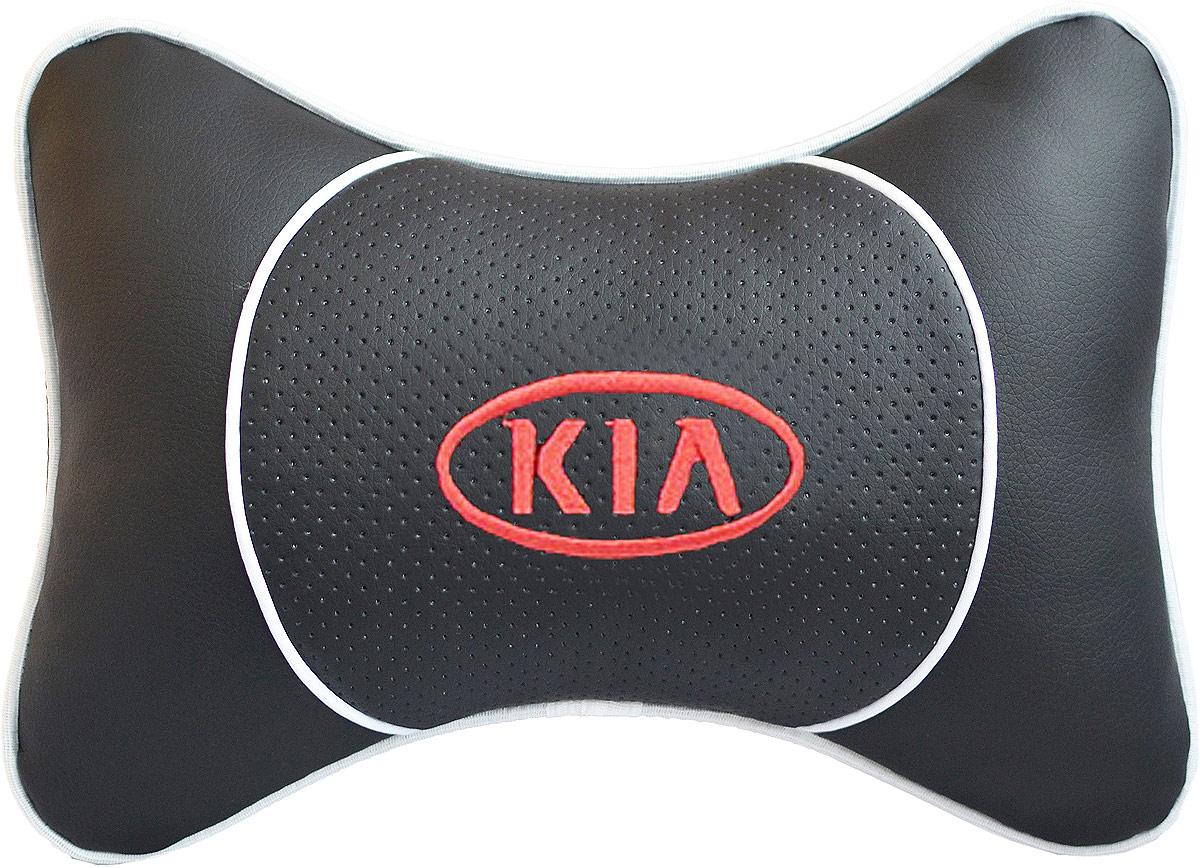 Подушка на подголовник Auto Premium Kia, цвет: черный. 3753137531Подушка на подголовник Auto Premium Kia - это прежде всего лучший способ создать комфорт для шеи и головы во время пребывания в автомобильном кресле. Большинство штатных подголовников устроены так, что до них попросту не дотянуться. Данный аксессуар полностью решает эту проблему, создавая мягкую ортопедическою поддержку. Подушка крепится к сиденью, а это значит один раз поставил - и забыл. Меньше утомляемость - выше внимание и концентрация на дороге. Подушка одинаково удобна для пассажира и водителя. Выполнена из экокожи, а значит имеет повышенный ресурс и прочность. Легко чистится влажной тряпкой, не требует стирки, не впитывает пыль и грязь. Экокожа дышащий материал, а значит будет комфортно и летом.
