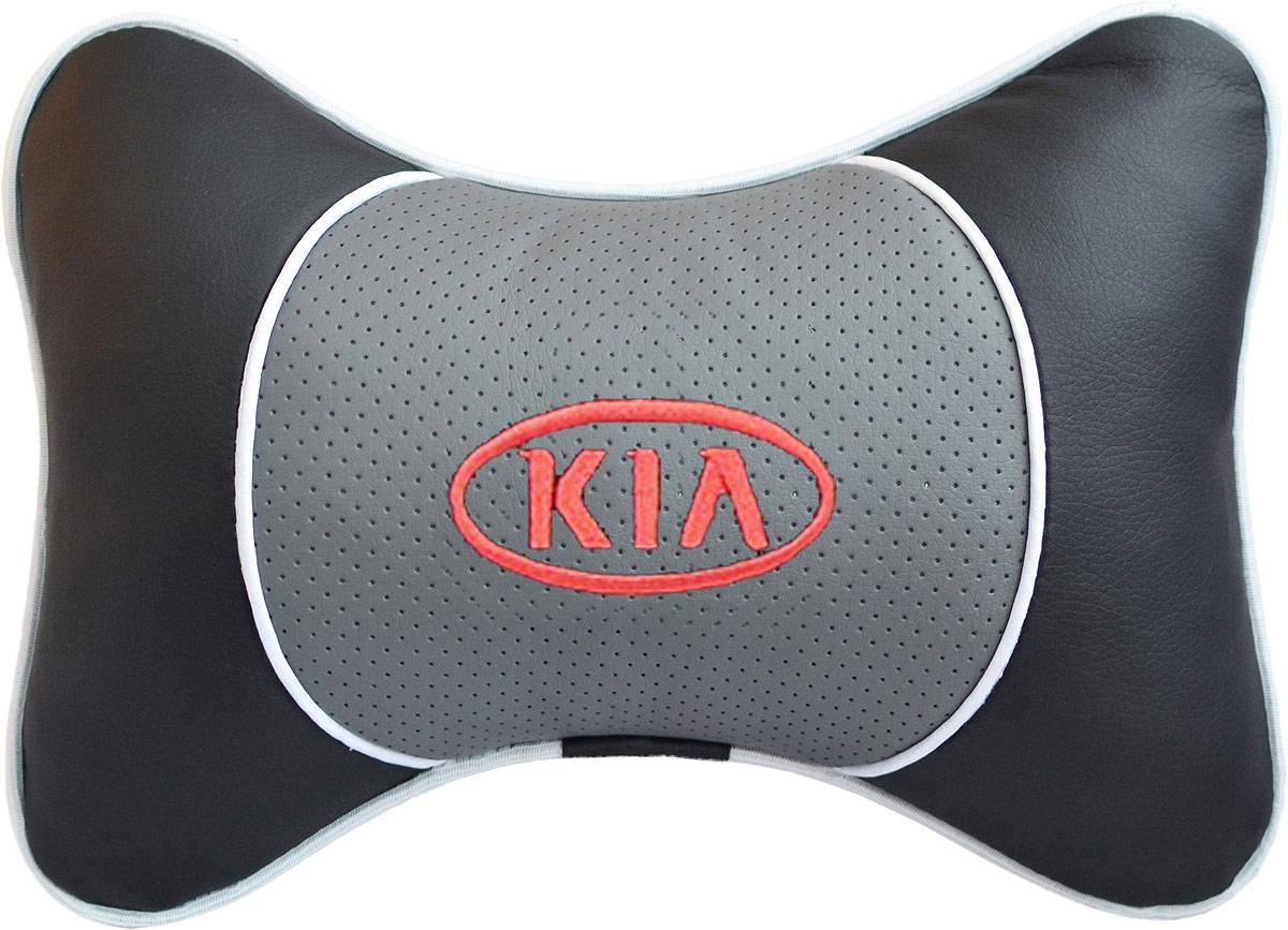 Подушка на подголовник Auto Premium Kia, цвет: серый, черный. 3755137551Подушка на подголовник Auto Premium Kia - это прежде всего лучший способ создать комфорт для шеи и головы во время пребывания в автомобильном кресле. Большинство штатных подголовников устроены так, что до них попросту не дотянуться. Данный аксессуар полностью решает эту проблему, создавая мягкую ортопедическою поддержку. Подушка крепится к сиденью, а это значит один раз поставил - и забыл. Меньше утомляемость - выше внимание и концентрация на дороге. Подушка одинаково удобна для пассажира и водителя. Выполнена из экокожи, а значит имеет повышенный ресурс и прочность. Легко чистится влажной тряпкой, не требует стирки, не впитывает пыль и грязь. Экокожа дышащий материал, а значит будет комфортно и летом.