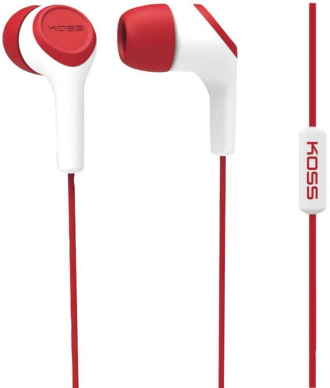 Koss KEB15i, Red наушники10102306Koss KEB15i - портативные наушники-вставки с функцией гарнитуры, разработанные на базе известной модели KEB15. Модель сочетает в себе стильный дизайн и легендарное качество Koss.Звукоизолирующие силиконовые амбушюры, расположенные под углом к чашкам, обеспечивают высокий уровень звукоизоляции и максимально комфортное прилегание к ушному каналу. Конструкция штекера с полужёстким сочленением увеличивает срок жизни шнура, оберегая его от повреждений.Максимум комфорта, стильный дизайн, большой выбор цветовУдобный штекер с углом 135 градусовТри вида амбушюр в комплекте
