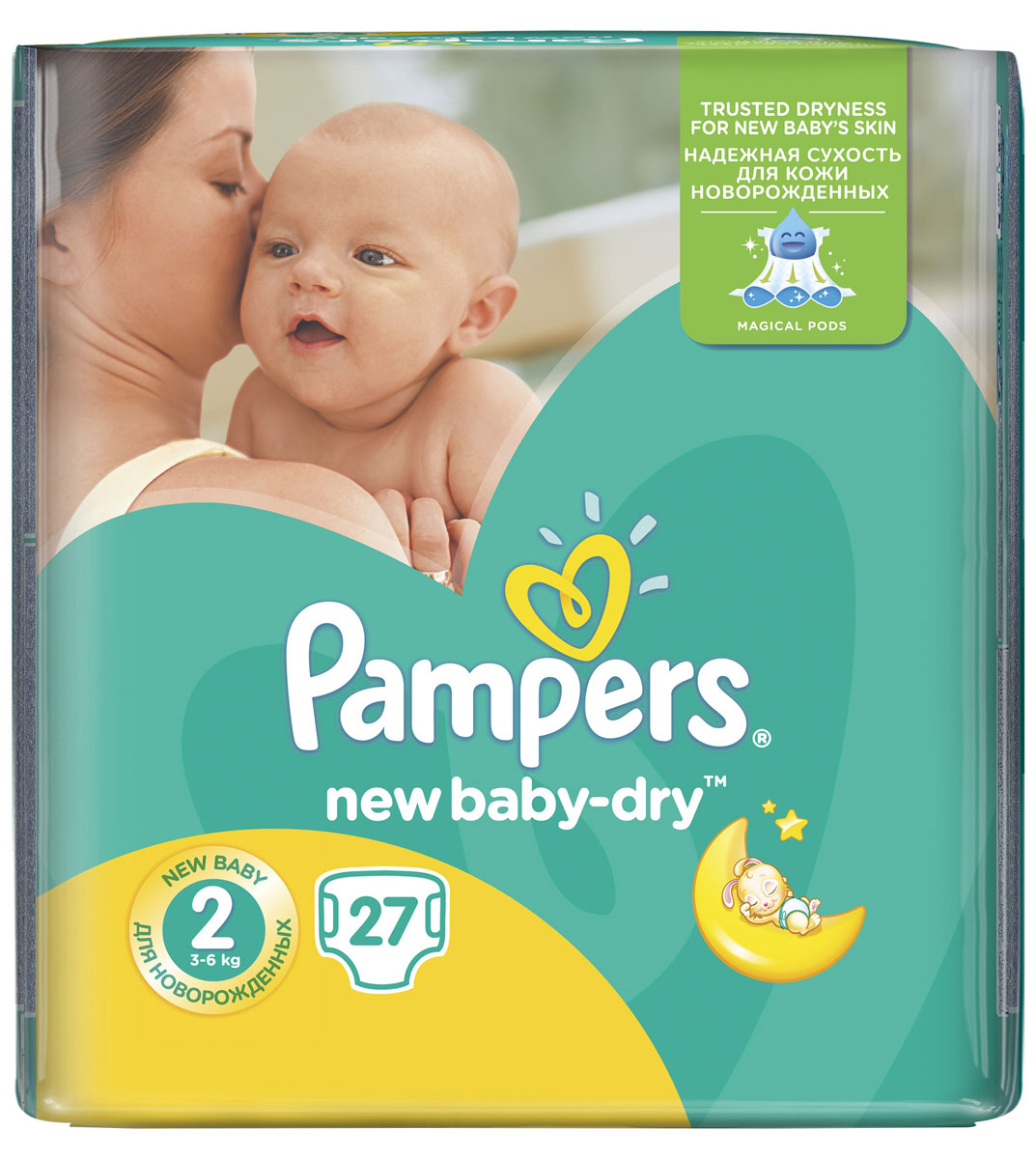 Pampers Подгузники New Baby-Dry 3-6 кг (размер 2) 27 шт