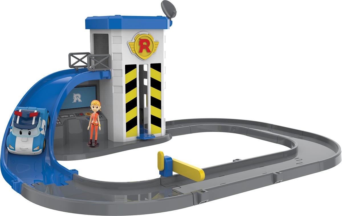Robocar Poli Игрушечный трек Подъемник с металлической машинкой Поли и фигуркой Джин набор маленький трек с умной машинкой поли