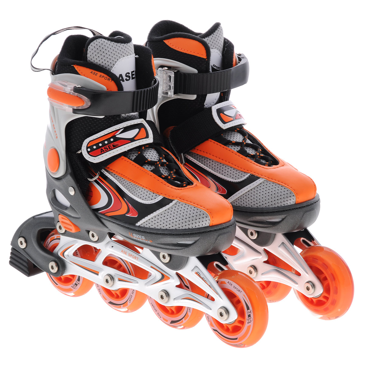 Коньки роликовые Ase-Sport, раздвижные, цвет: серый, оранжевый. ASE-626B. Размер S (33/36)ASE-626B-2Верх сапожка изготовлен из современного синтетического материала, стойкого к внешним воздействиям. Внутри сапожка отделка сделана из мягкого синтетического материала с мягкой подкладкой в боковых частях для более удобной и надежной фиксации ноги во время катания. Застежка типа AUTO LOCK удобно регулируется на нужный размер. Система изменения размера корпуса (кнопка) проста в использовании, позволяет быстро и комфортно подогнать сапожок под ногу. Корпус коньков изготовлен из прочного пластика, стойкого к механическим нагрузкам и внешним воздействиям окружающей среды. Ударопрочная пластиковая силовая манжета. Алюминиевая рама дает дополнительную прочность и скорость отталкивания во время катания. Стельки сделаны из специального вспененного материала, который удобно повторяет анатомическое строение стопы ноги и дополнительно поглощает вибрацию. Шнуровка коньков: матерчатые петли в сочетании с широким язычком, шнурки из полиэстера с синтетическими волокнами для более прочной фиксации ноги. Ролики комплектуются тормозом, колесами класса жесткости 82А, точность подшипников ABEC-5.