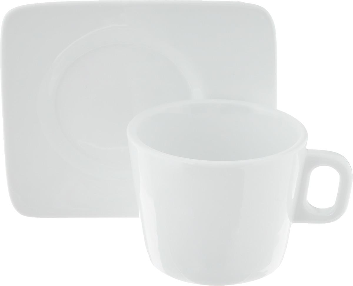 Кофейная пара Tescoma Gustito, 2 предмета386430Кофейная пара Tescoma Gustito состоит из чашки и блюдца. Изделия выполнены из высококачественного фарфора, покрытого слоем глазури. Изделия имеют лаконичный дизайн, просты и функциональны в использовании. Кофейная пара Tescoma Gustito украсит ваш кухонный стол, а также станет замечательным подарком к любому празднику.Изделия можно мыть в посудомоечной машине и ставить в микроволновую печь.Объем чашки: 200 мл.Диаметр чашки (по верхнему краю): 8,5 см.Высота чашки: 6,8 см.Размер блюдца: 12,3 х 12,3 х 1,5 см.