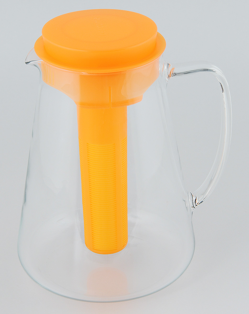 """Кувшин Tescoma """"Teo"""", выполненный из высококачественного прочного стекла, элегантно украсит ваш стол. Кувшин оснащен удобной ручкой, пластиковой крышкой, ситечком для настаивания чая и трав, а также охлаждающей части. Он прост в использовании, достаточно наклонить его и налить ваш любимый напиток. Форма крышки обеспечивает наливание жидкости без расплескивания. Изделие прекрасно подойдет для холодильника и для подачи на стол воды, сока, компота и других напитков, как горячих, так и холодных.  Кувшин Tescoma """"Teo"""" дополнит интерьер вашей кухни и станет замечательным подарком к любому празднику. Можно мыть в посудомоечной машине и использовать на газовых, стеклокерамических и электрических плитах. Диаметр (по верхнему краю): 11 см. Диаметр (по нижнему краю): 16 см. Высота кувшина (с учетом крышки): 24 см. Высота ситечка: 19,5 см."""