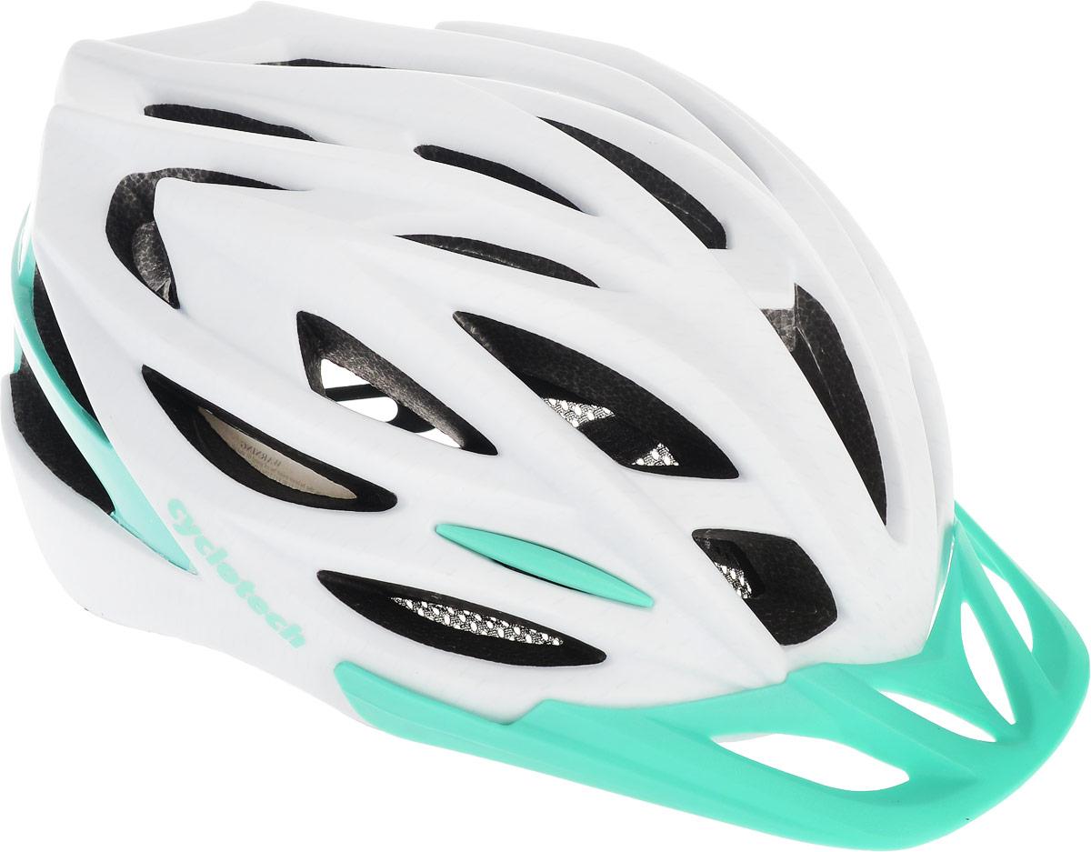 Шлем велосипедный Cyclotech, цвет: белый, изумрудный. Размер LCHLI15W-LЖенский велосипедный шлем продвинутого уровня Cyclotech изготовлен по современной технологии Inmold. За счет применения данной технологии шлем становится значительно более устойчивым к боковым и фронтальным ударам, как тупыми, так и острыми предметами (камни, скальные породы). Улучшенная система вентиляции. Шлем соответствует международным стандартам безопасности и надежности.Обхват головы: 58-62 см.