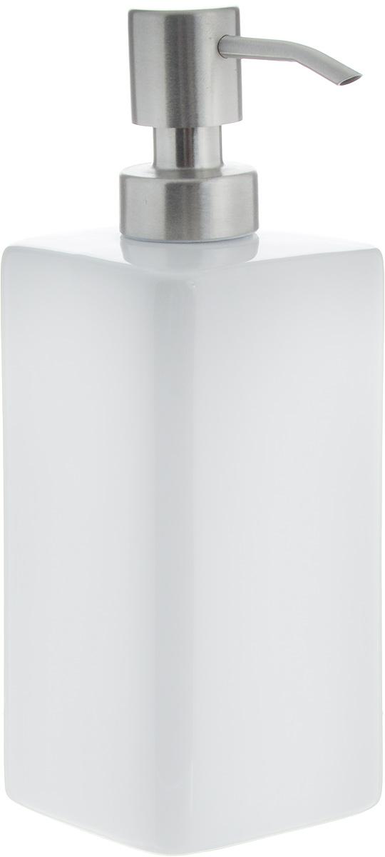 """Дозатор Tescoma """"Online"""", выполненный из керамики и нержавеющей стали, прекрасно подходит для удобной дозировки и хранения моющих средств на кухонном гарнитуре, рядом с мойкой.  Можно мыть в посудомоечной машине (кроме помпы).  Высота дозатора (с учетом крышки): 18,5 см. Размер дозатора (без учета крышки): 6,8 х 6,8 х 14,5 см."""